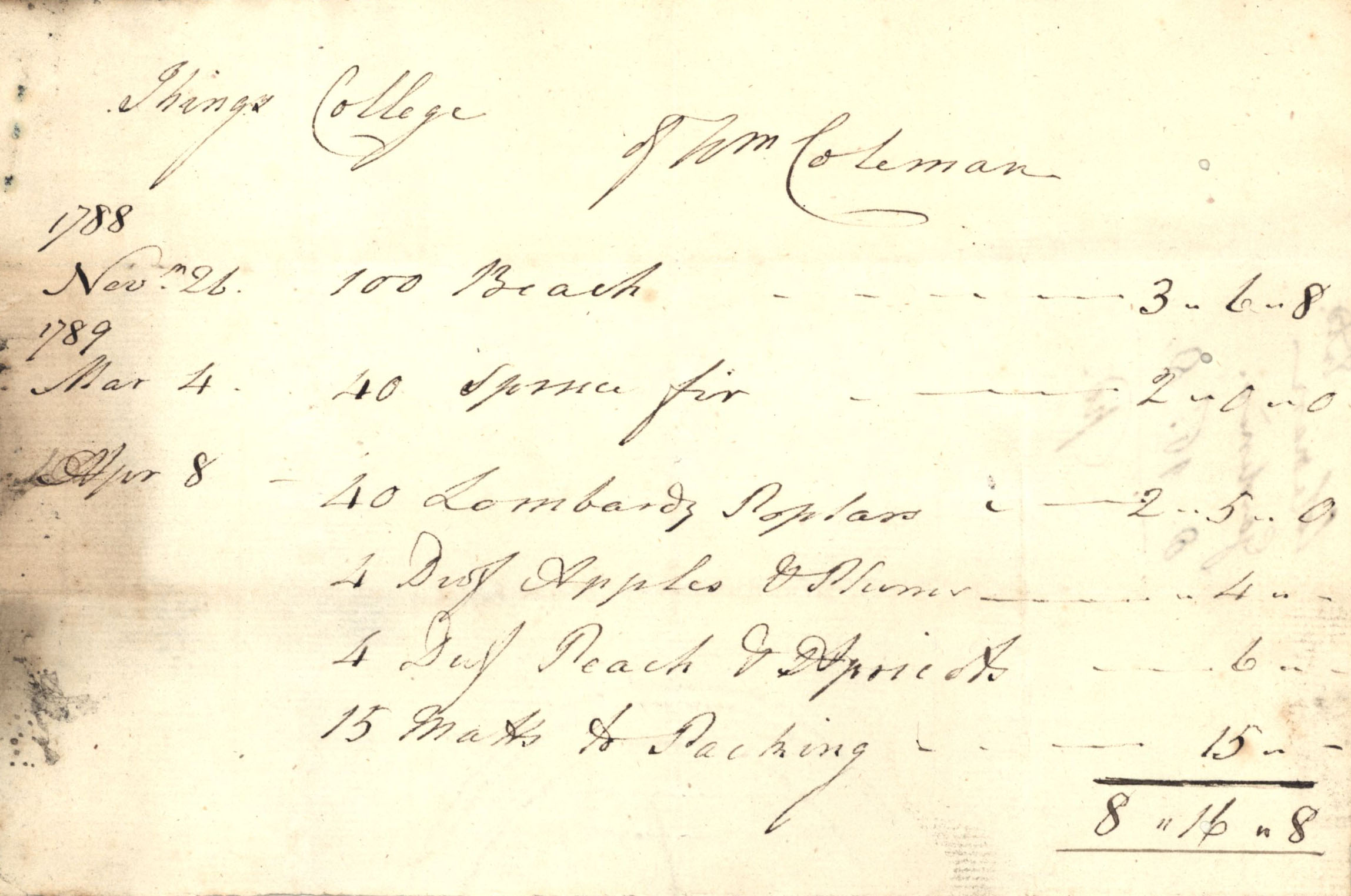 Receipt for trees bought from William Coleman in 1788-9 (KCA/236).