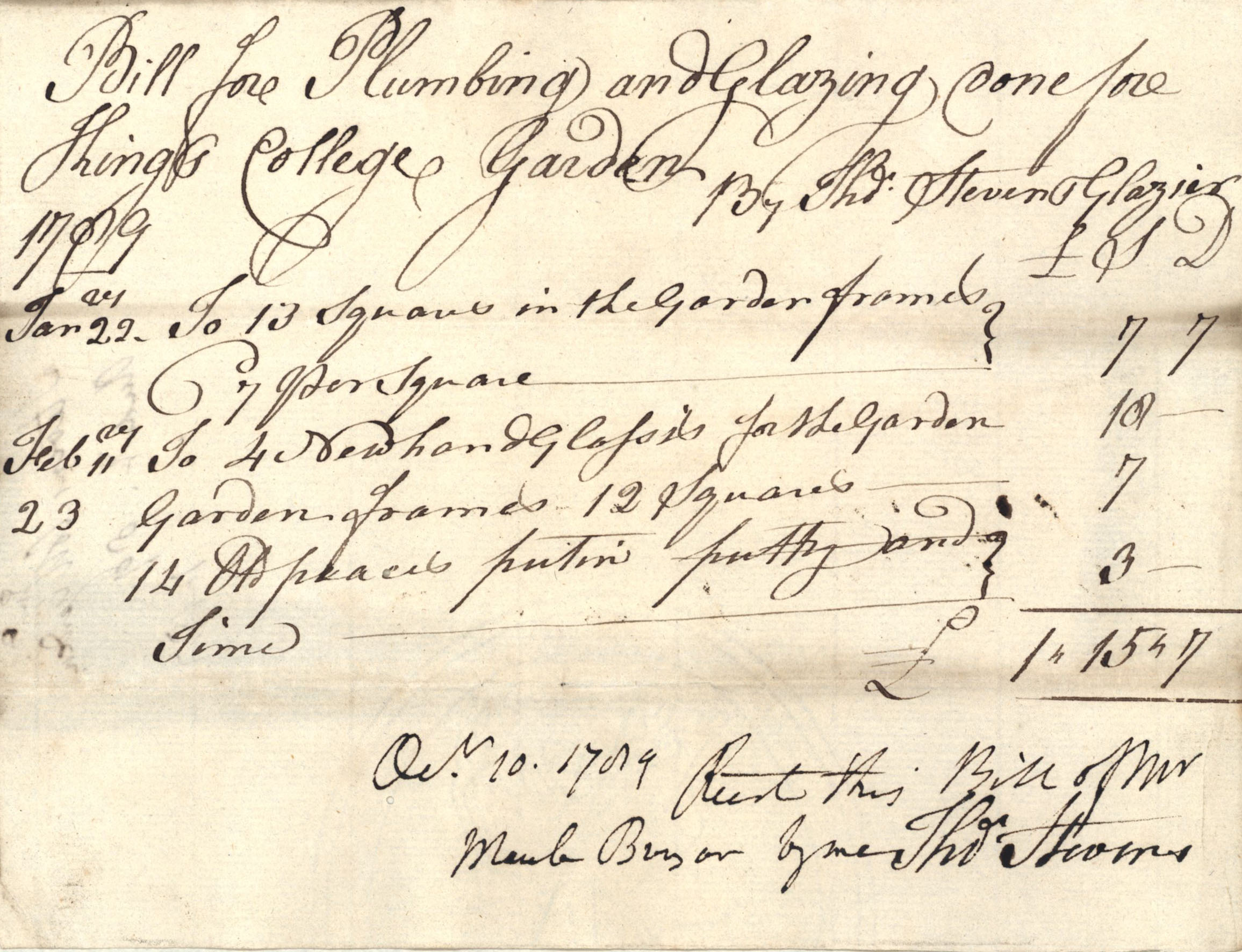 Bill for plumbing and glazing for King's College garden by Thomas Stevens, 1789 (KCA/236).