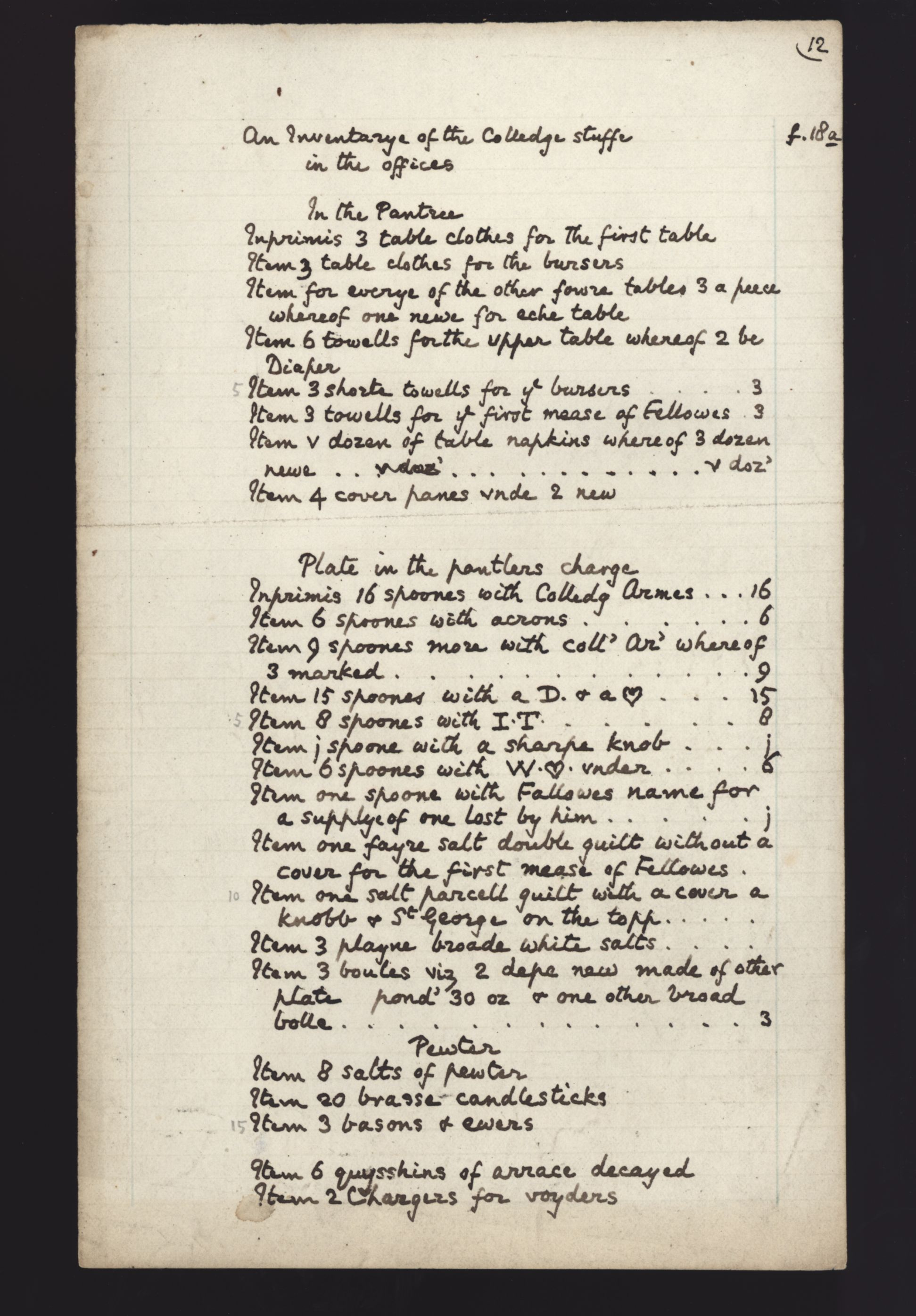 First page of a transcript of a college inventory, 1598. [KCA/259]