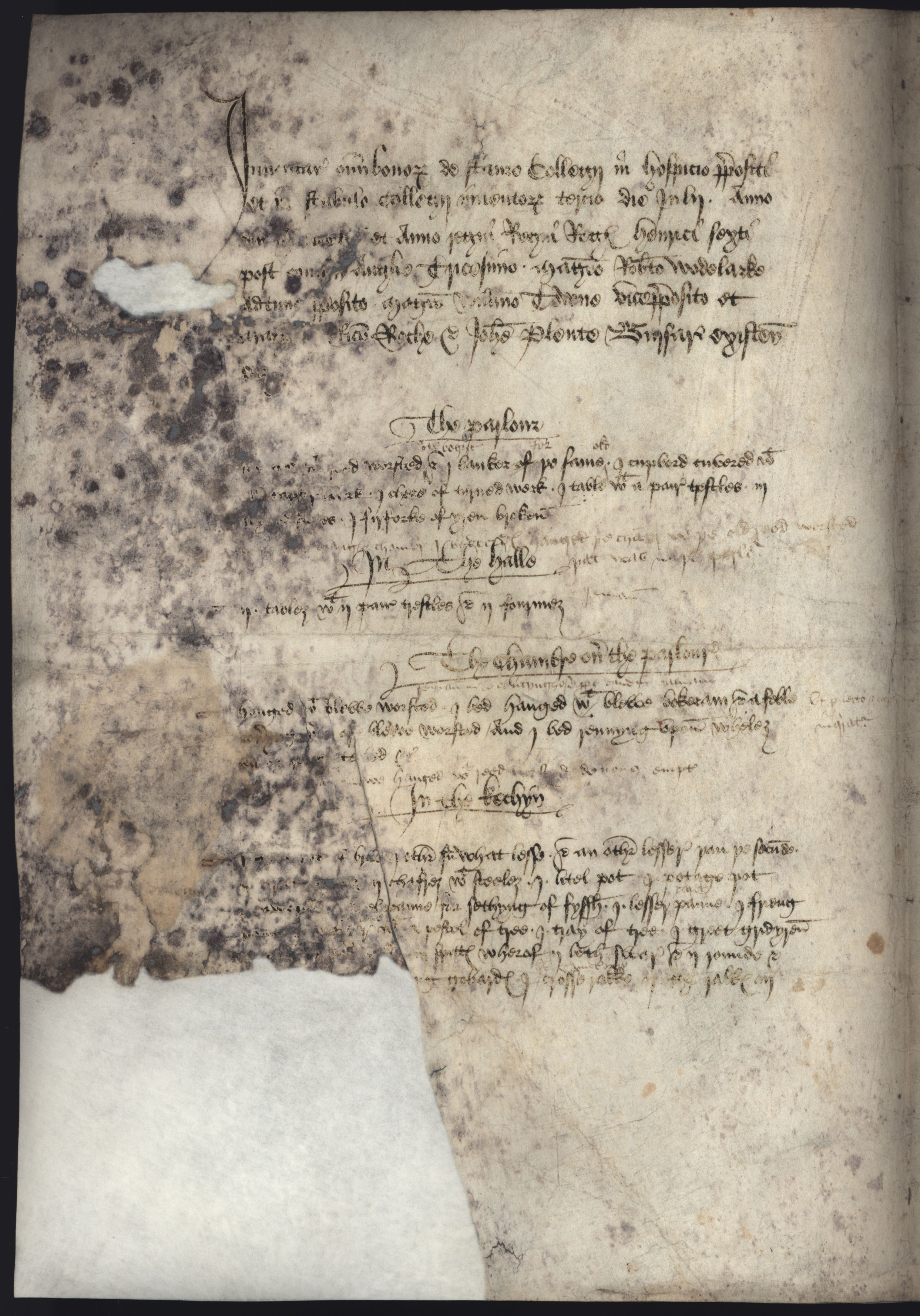 First page of an inventory of the Provost's Lodge's contents taken 3 July, 1452. [KCA/348, transcribed in the Communications of the Cambridge Antiquarian Society]