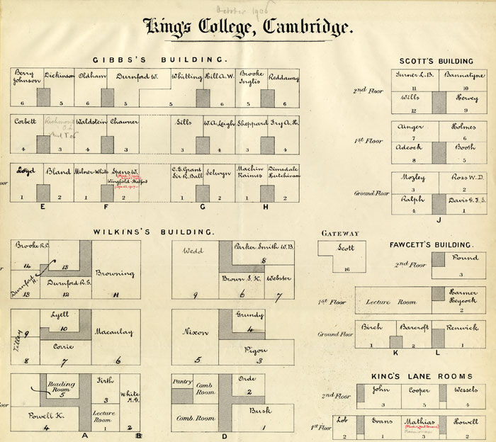 Part of a floor plan of College accommodation, showing Rupert Brooke's room (October 1906; KCAC/1/3/2/1)