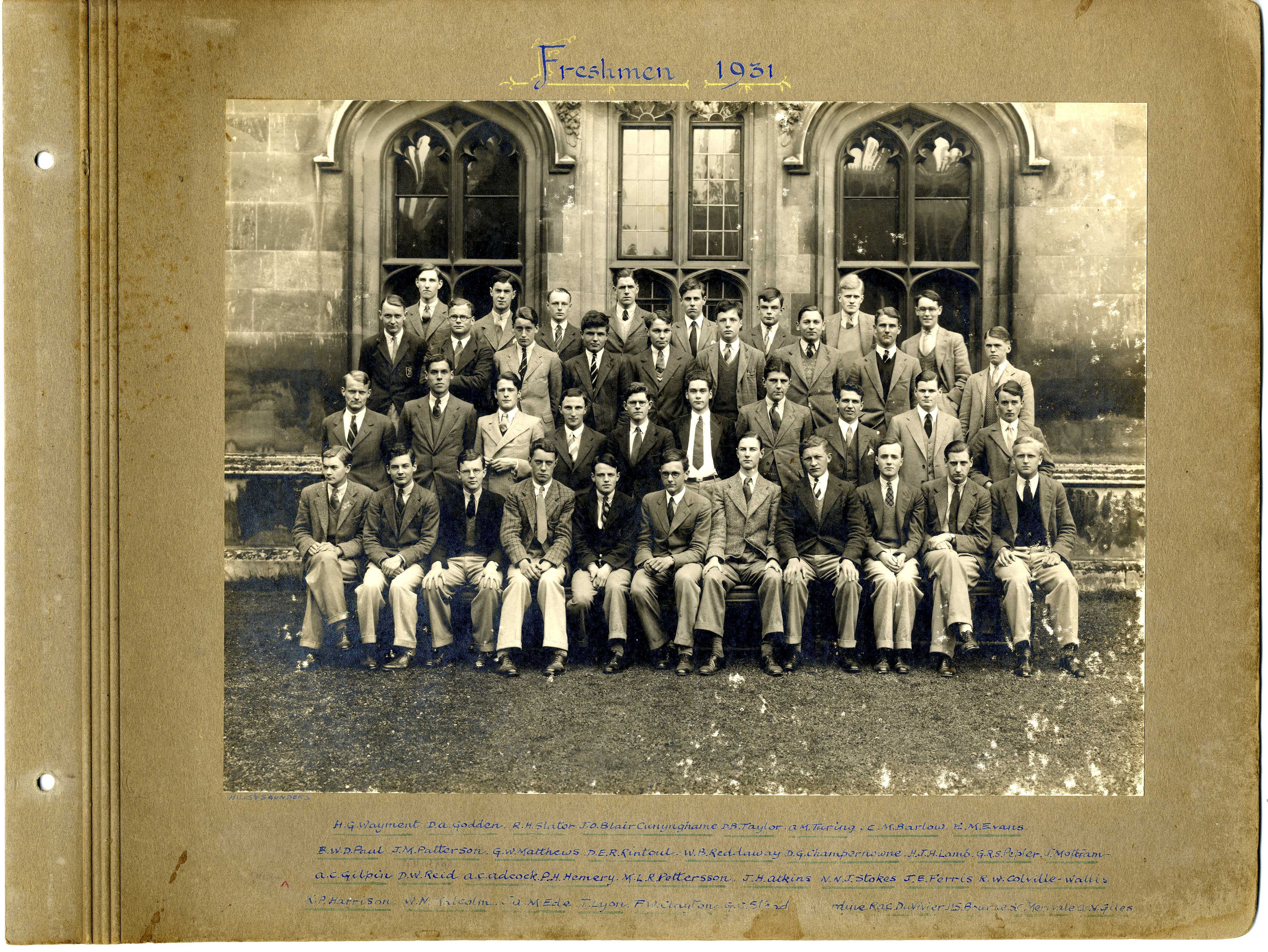 The 1931 King's Matriculation photo. Turing is third from right at the back. [KCAC/1/3/6/1/1/1]