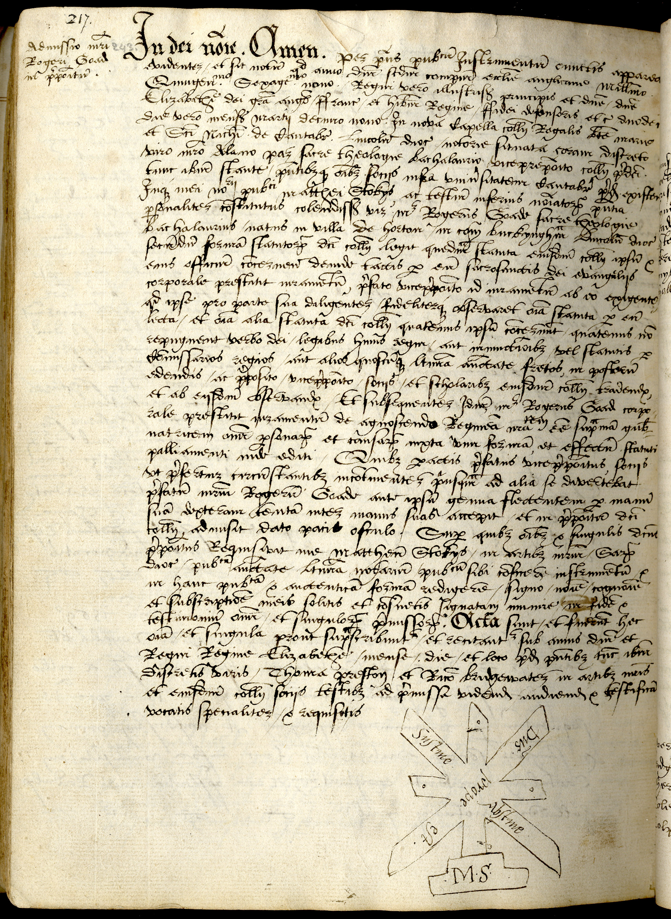Mark of Matthew Stokes. Notary Public on the admission of Roger Goade to the Provostship in 1570. (KCAC/2/1/1/217)