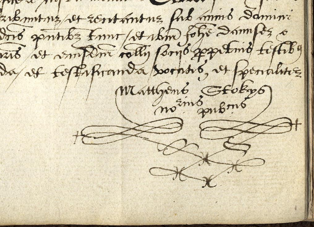 Usual mark of Matthew Stokes. Notary Public, 1576. (KCAC/2/1/1/240)