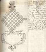 Mark of William Mendham, Notary Public on the admission of Samuel Collins to the Provostship, 1615. (KCAC/2/1/2/195)