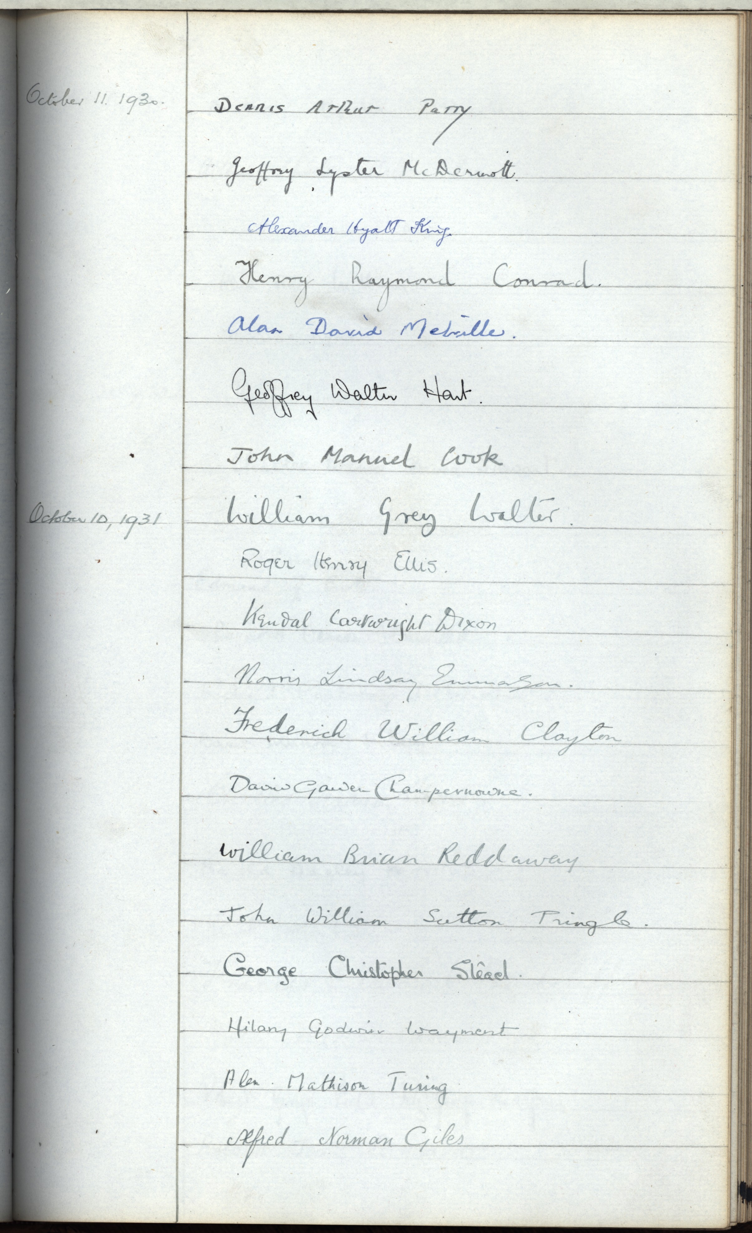 Turing's signature in the Scholar's book promising to uphold the College statutes. [KCAC/2/5]