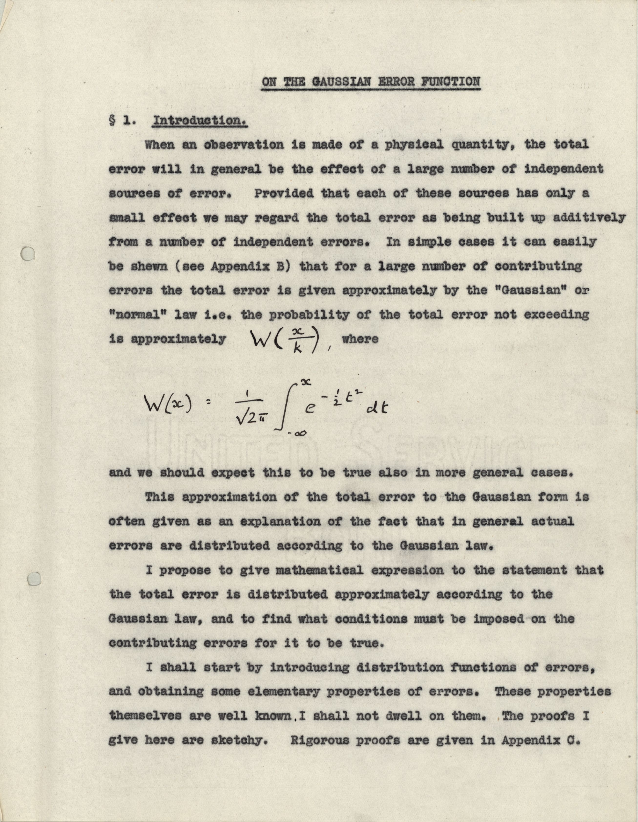 A page from Turing's Fellowship dissertation. Like so many doctoral candidates, Turing was scooped by another researcher.  [KCAC/4/11/1/Turing]