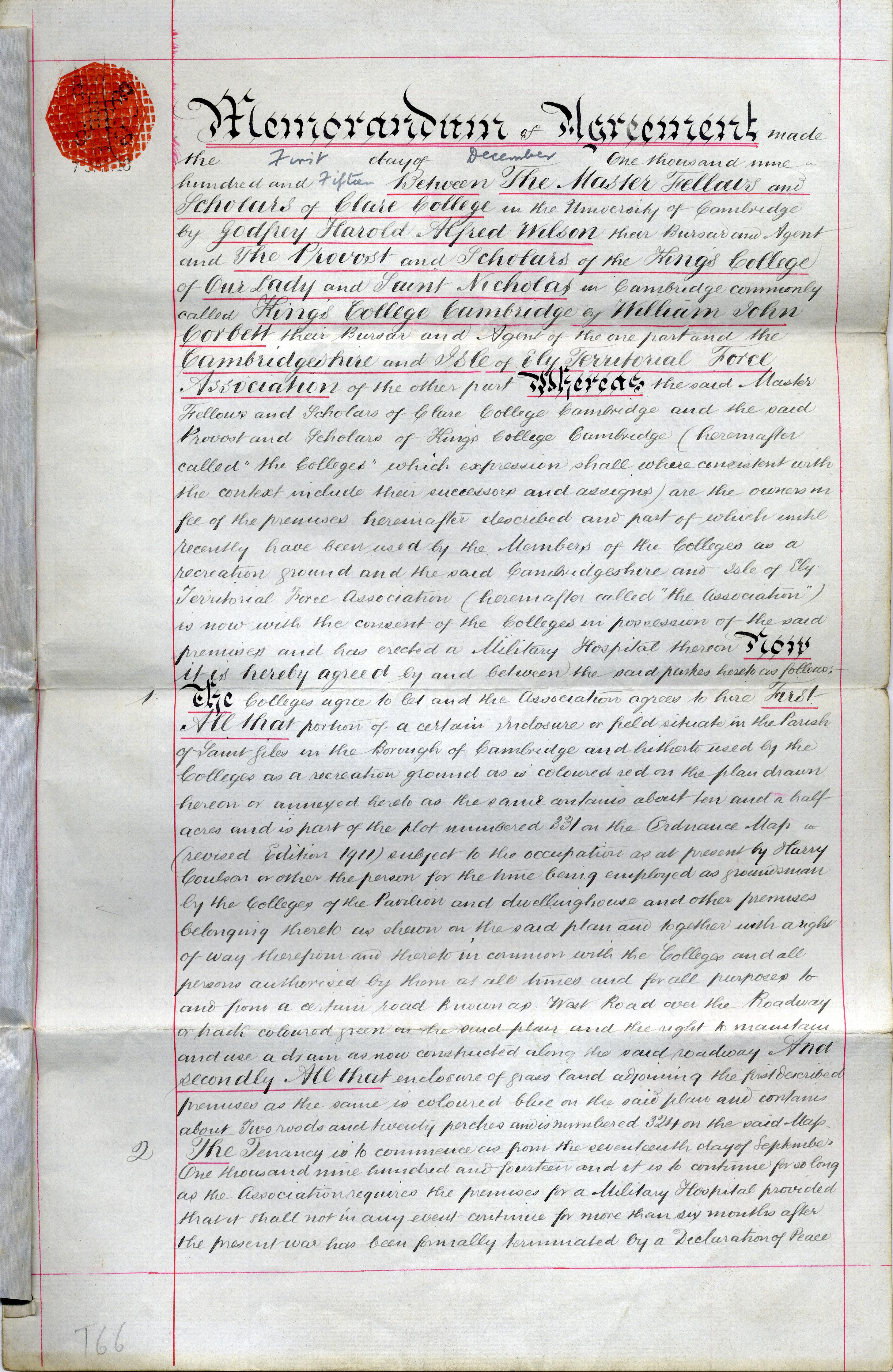 Memorandum of Agreement (duplicate), 1 December 1915, page 1 (KCAR/3/1/1/8/31)