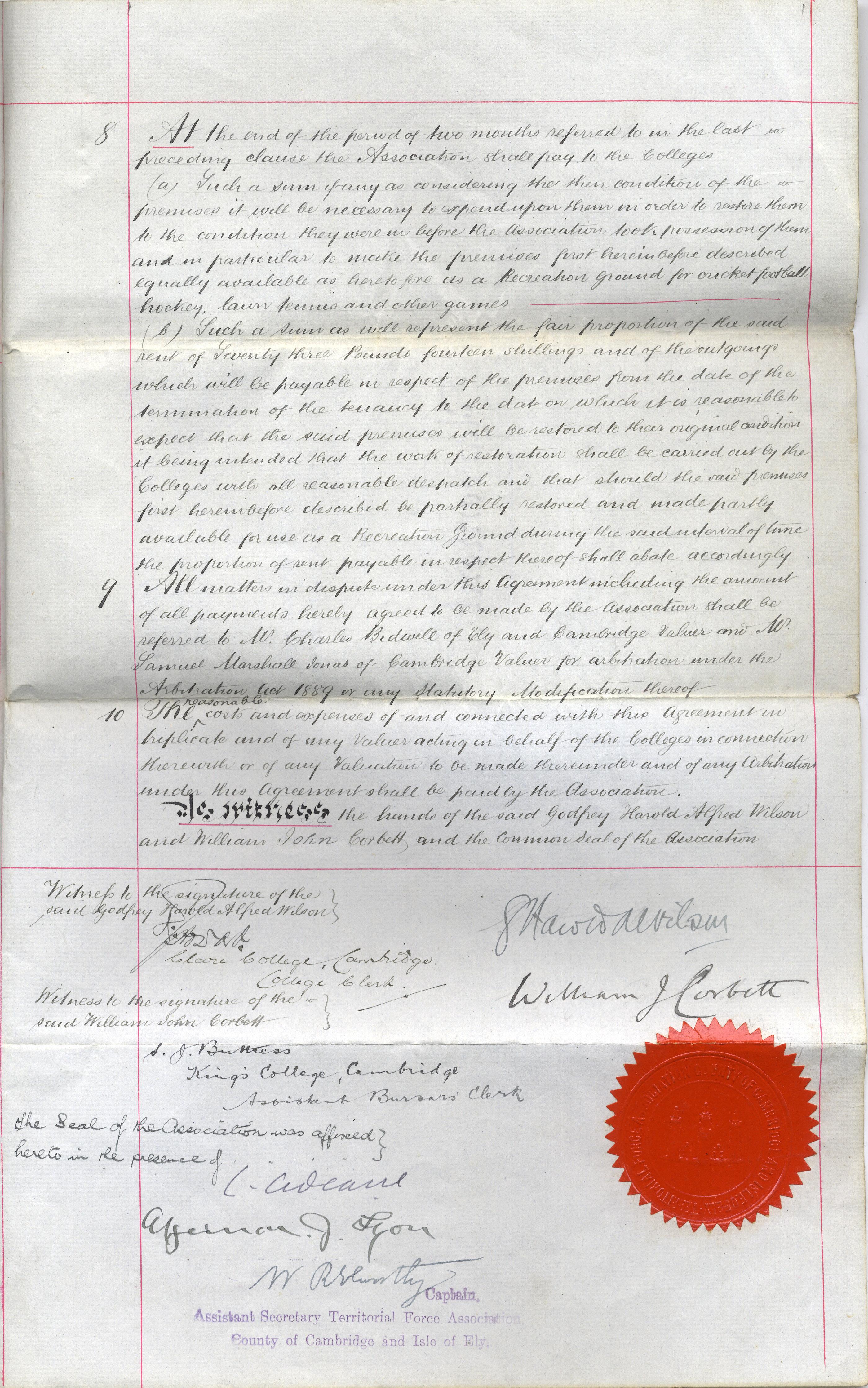 Memorandum of Agreement (duplicate), 1 December 1915, page 3 (KCAR/3/1/8/31)