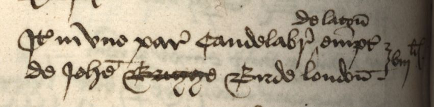 "Payment for candelabra. [KCAR/4/1/1/1, Mundum book, 1448-49, ""Custus Ecclesie""]"