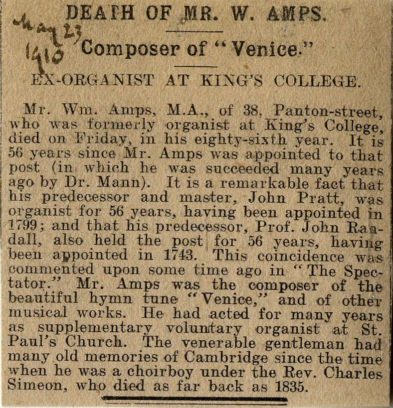 Press cutting concerning the death of Mr W Amps, noting that both his immediate predecessors had been organist for 56 years. 23 May 1910. (KCAR/8/3/1)