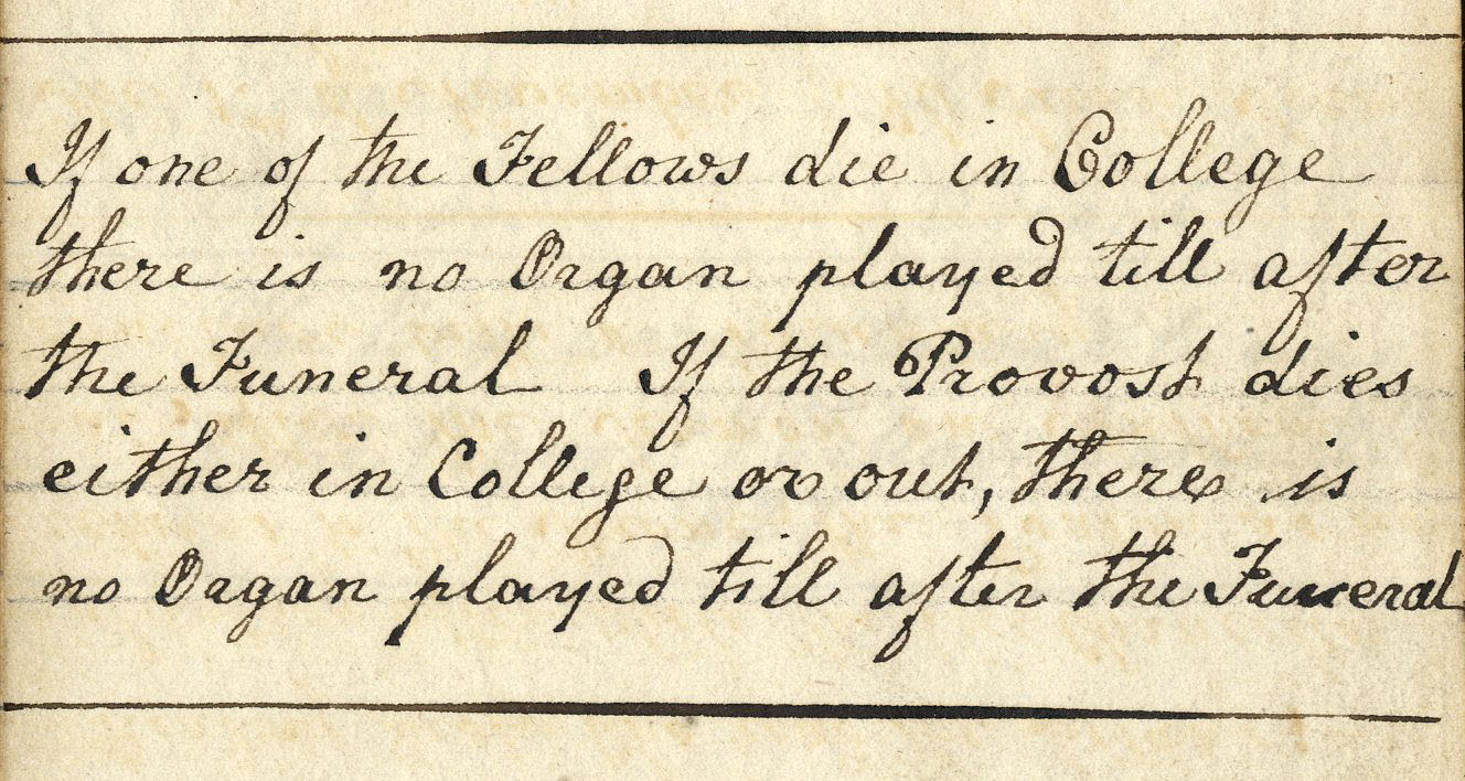 Note near the beginning of a book of instructions and notes on the choir, 1799-1855. (KCAR/8/4/3)
