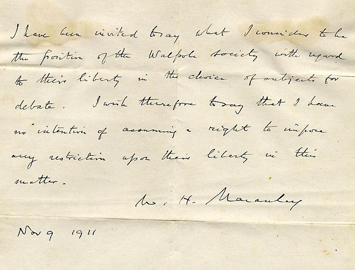 H. Macauley's letter, 9/11/1911 (KCAS/20/1/5)