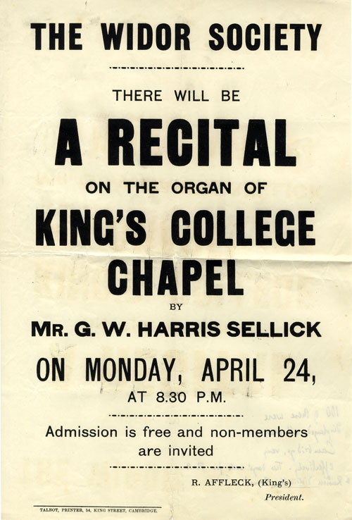 Flyer for an organ recital by Mr G.W. Harris Sellick, of Middleton Parish Church, Greater Manchester (KCAS/21/1)