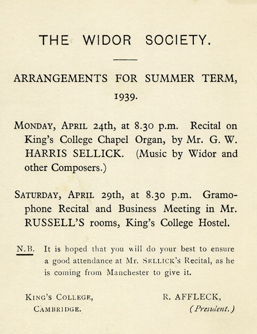 Arrangements for Summer Term 1939 (KCAS/21/1)
