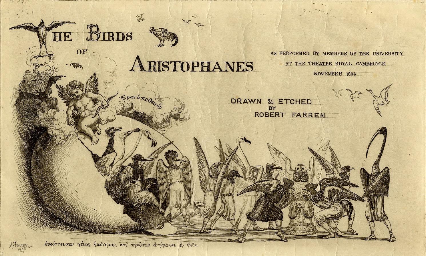 The Birds of Aristophanes title sheet, 1883 (KCAS/36/1883)