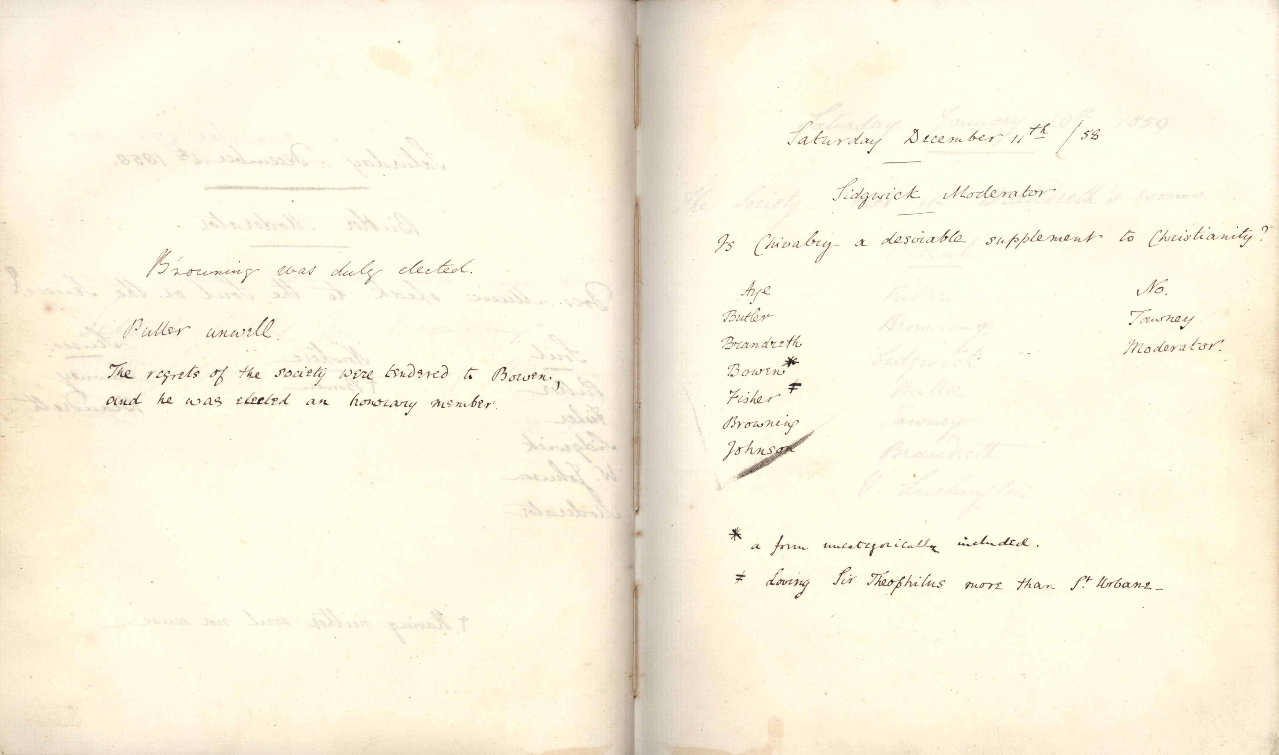 Minutes of a meeting in which Oscar Browning was elected a member. [KCAS/39/1/5, 11 December 1858]
