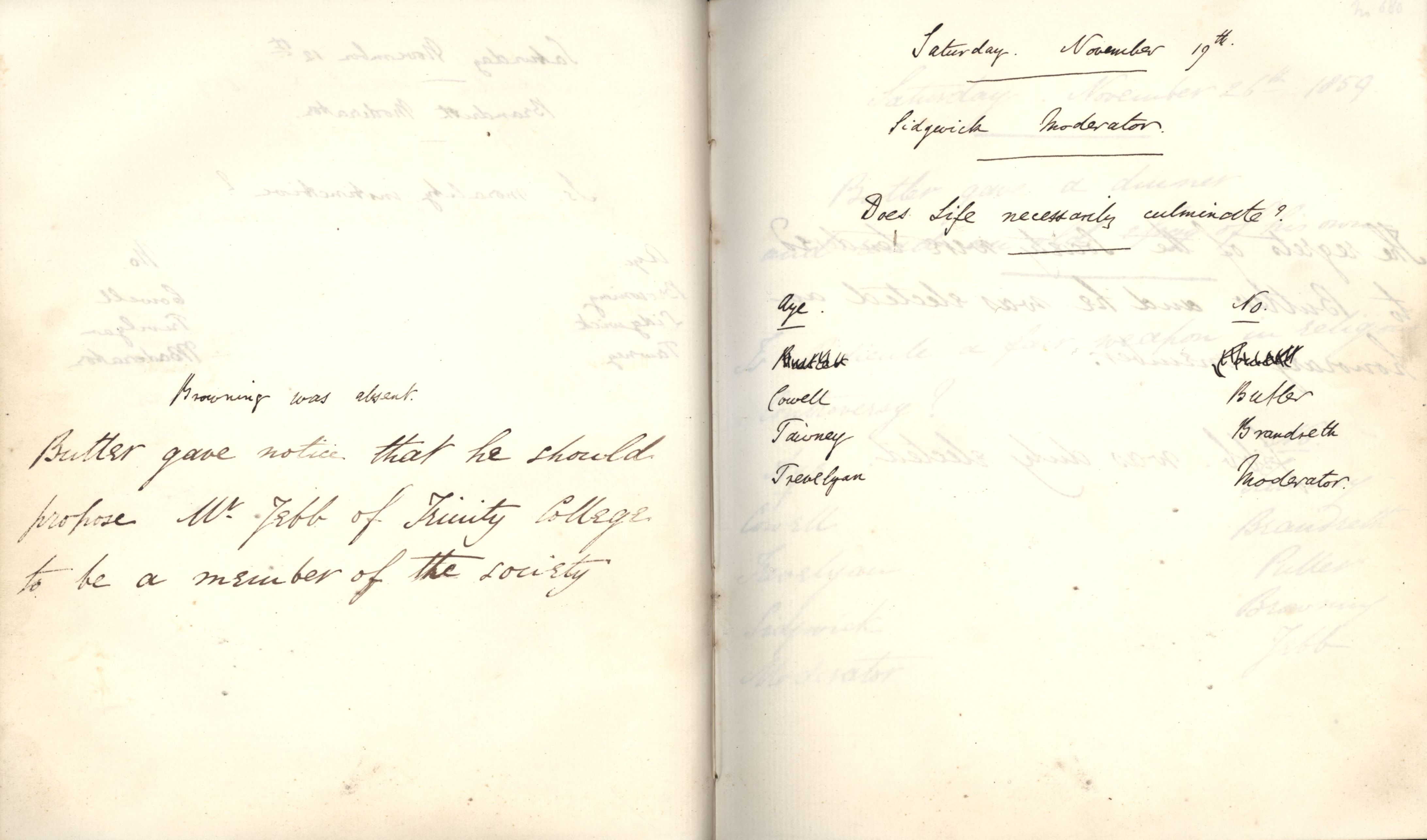 Minutes of a meeting in which Oscar Browning is noted as having been absent. [KCAS/39/1/5, 19 November 1859]