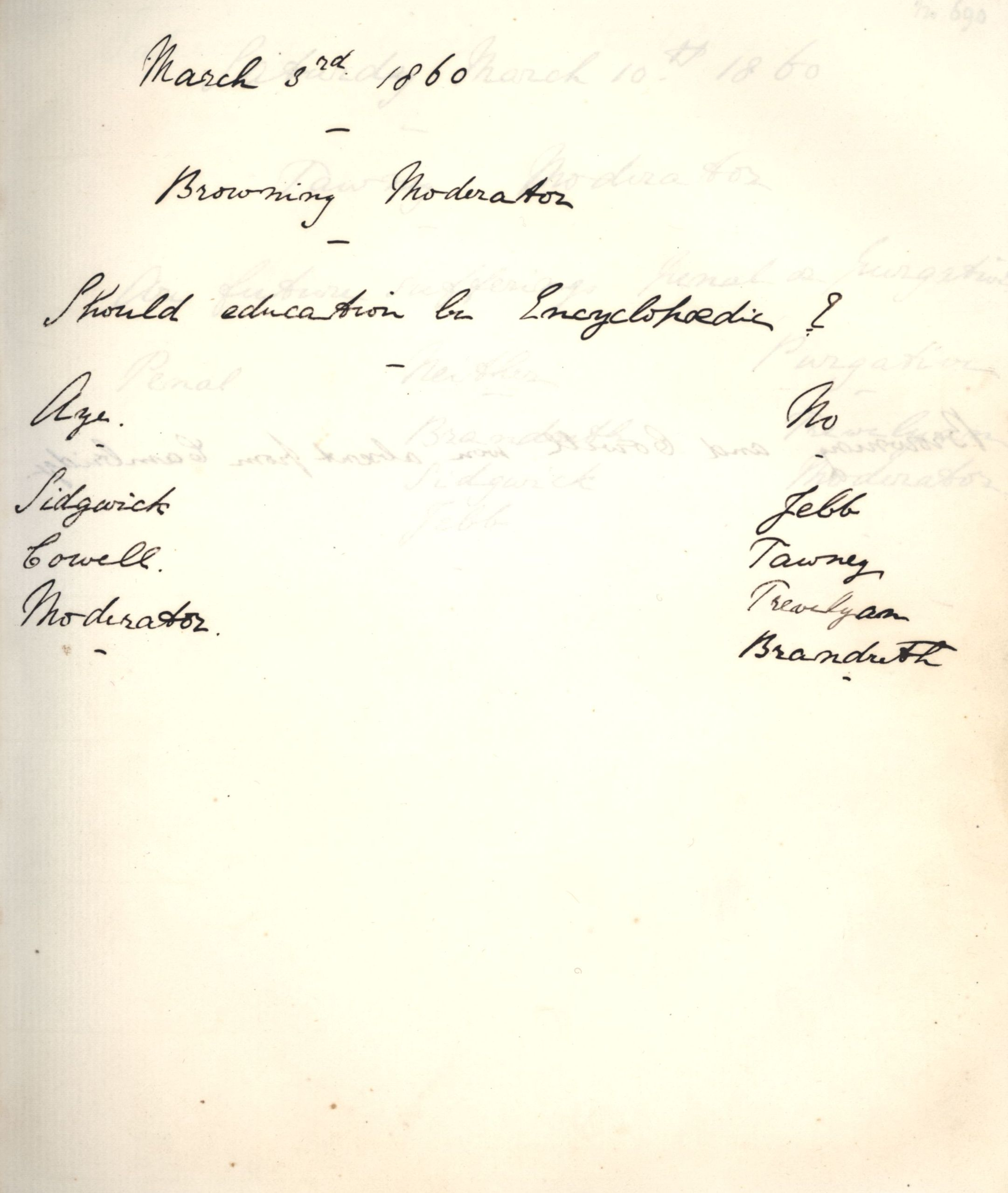 Minutes of a meeting in which Oscar Browning asked 'Should education be Encyclopaedic?' [KCAS/39/1/5, 3 March 1860]