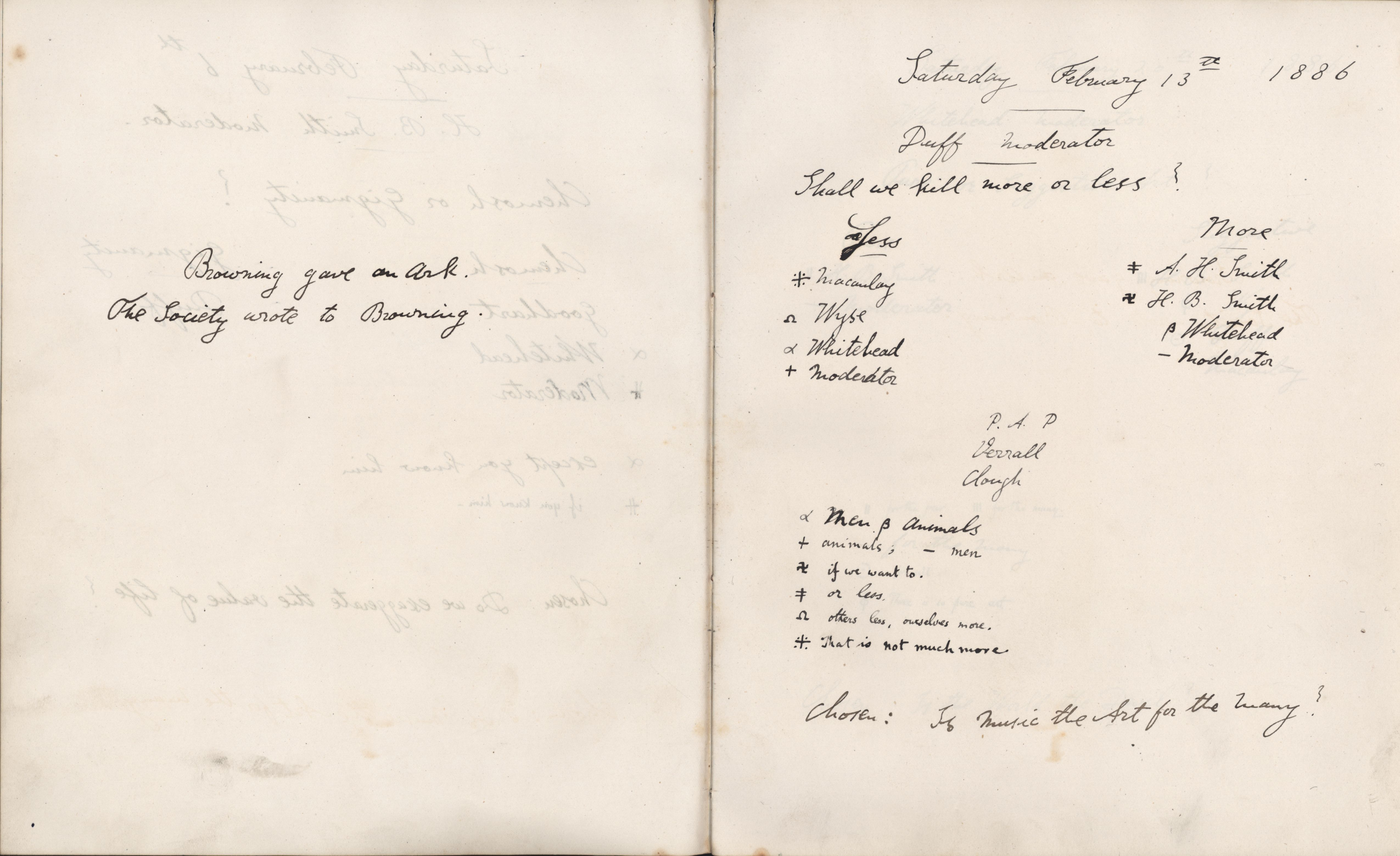 Minutes of a meeting at which Oscar Browning gave the Ark. [KCAS/39/1/10, 13 February 1886]