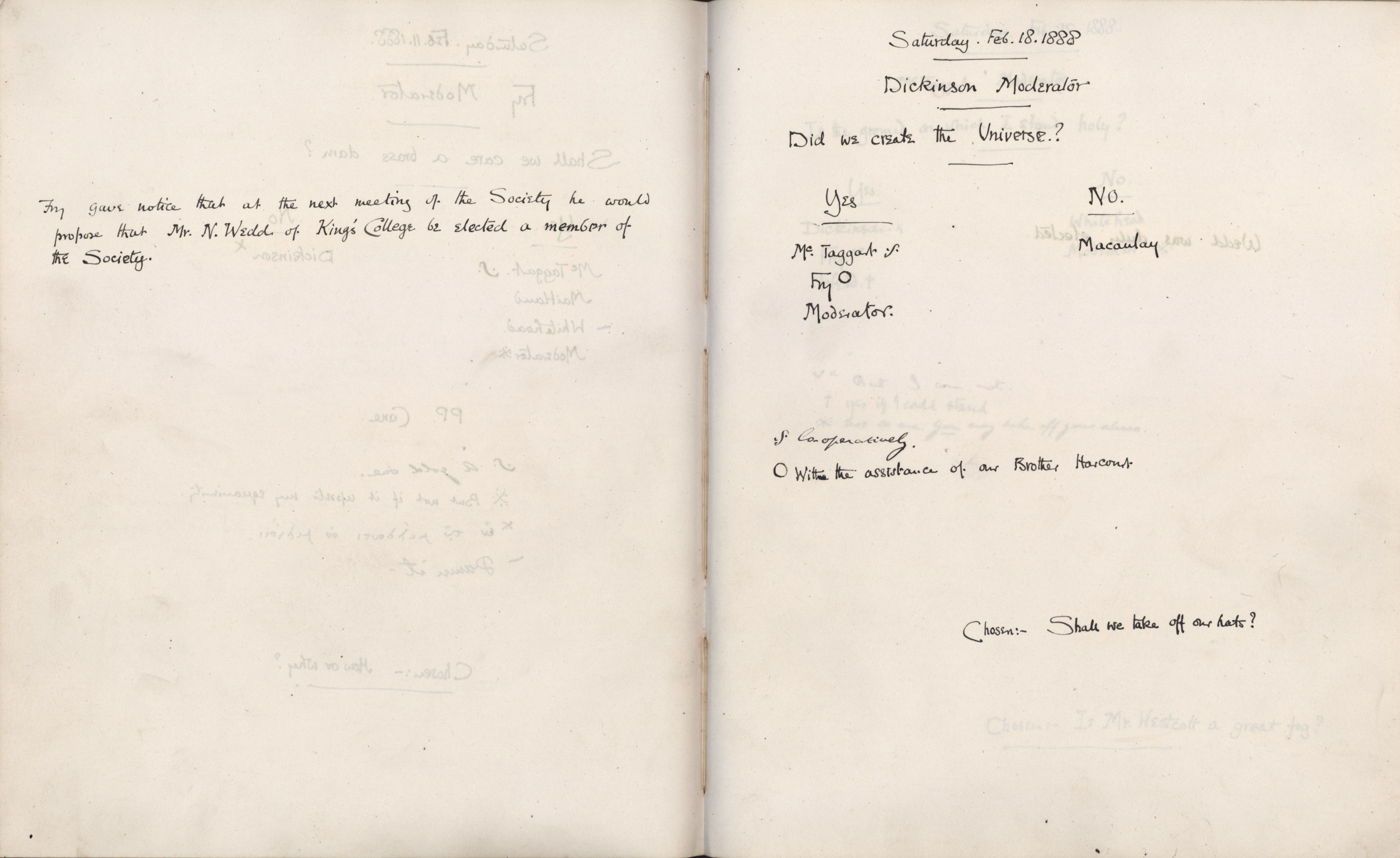Minutes of a meeting in which Fry gave notice that he would propose the election of Nathaniel Wedd at the next meeting. [KCAS/39/1/10, 18 February 1888]