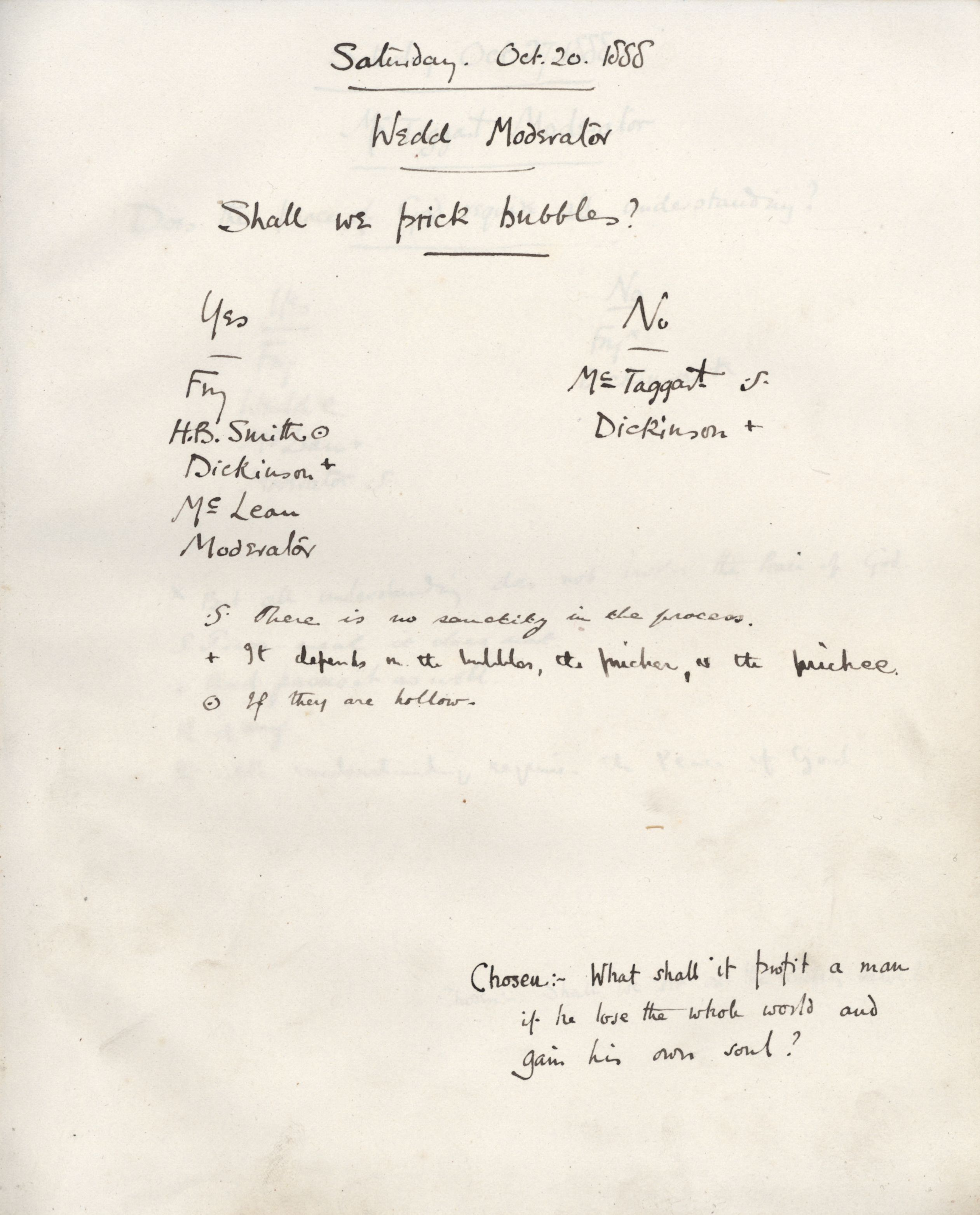 Minutes of a meeting in which Wedd asked 'Shall we prick bubbles?' [KCAS/39/1/11, 20 October 1888]