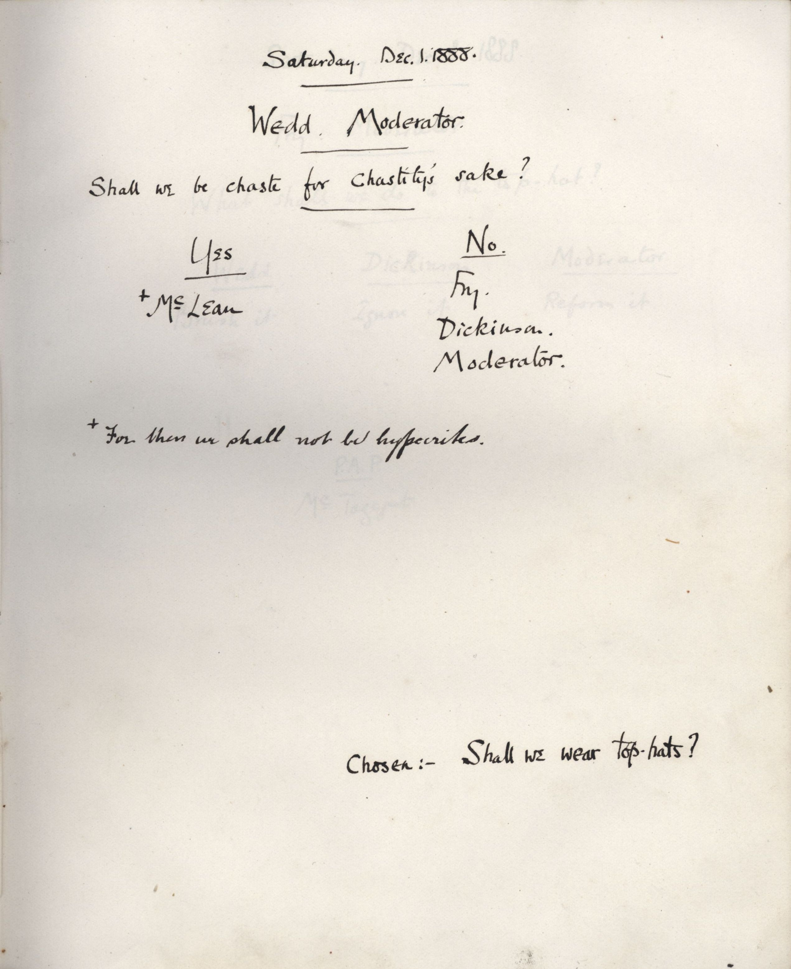 Minutes of a meeting in which Wedd asked 'Shall we be chaste for chastity's sake?' [KCAS/39/1/11, 1 December 1888]