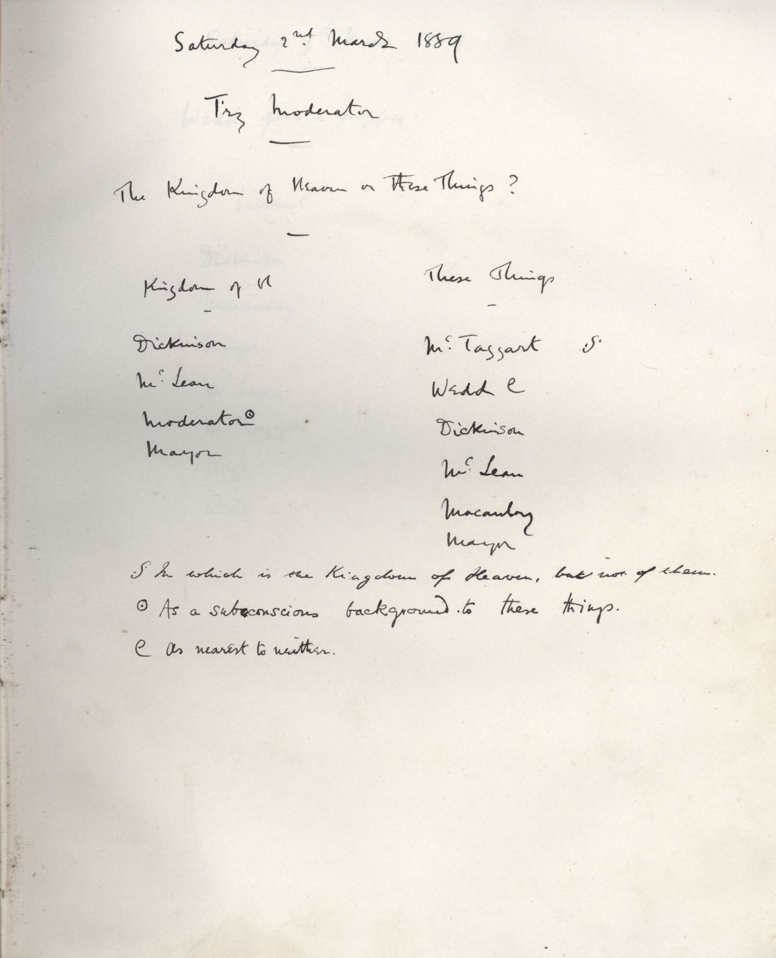 Minutes of a meeting in which Fry asked 'The Kingdom of Heaven or these Things?' [KCAS/39/1/11, 2 March 1889]