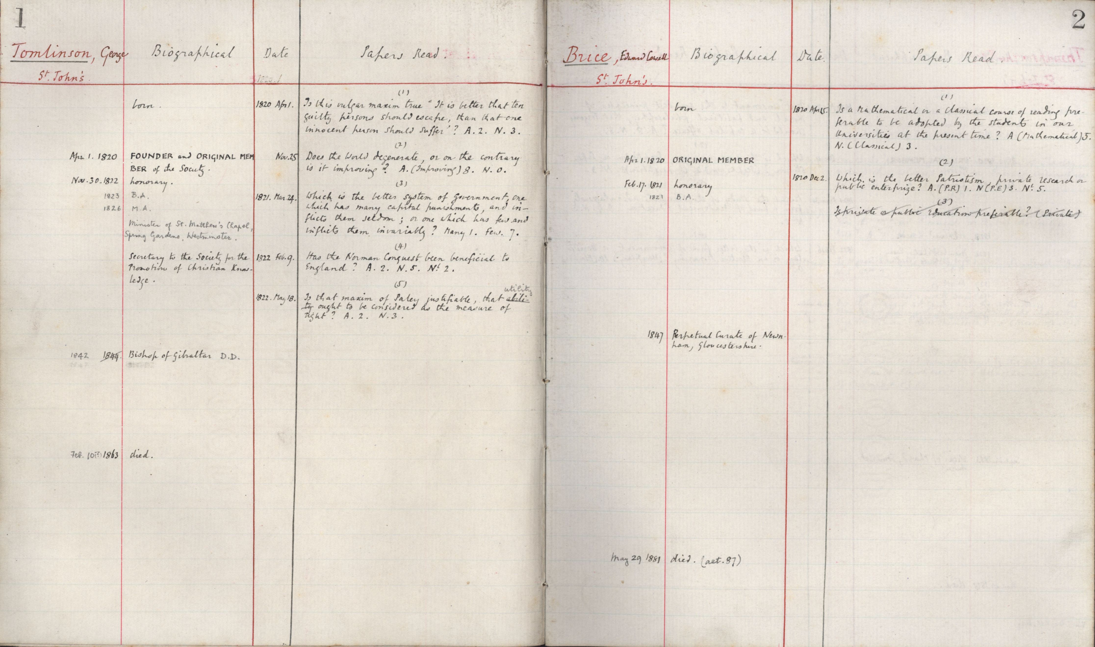 Register entries for George Thomlinson and Edward Cowell Brice. [KCAS/39/3/1, 1-2]