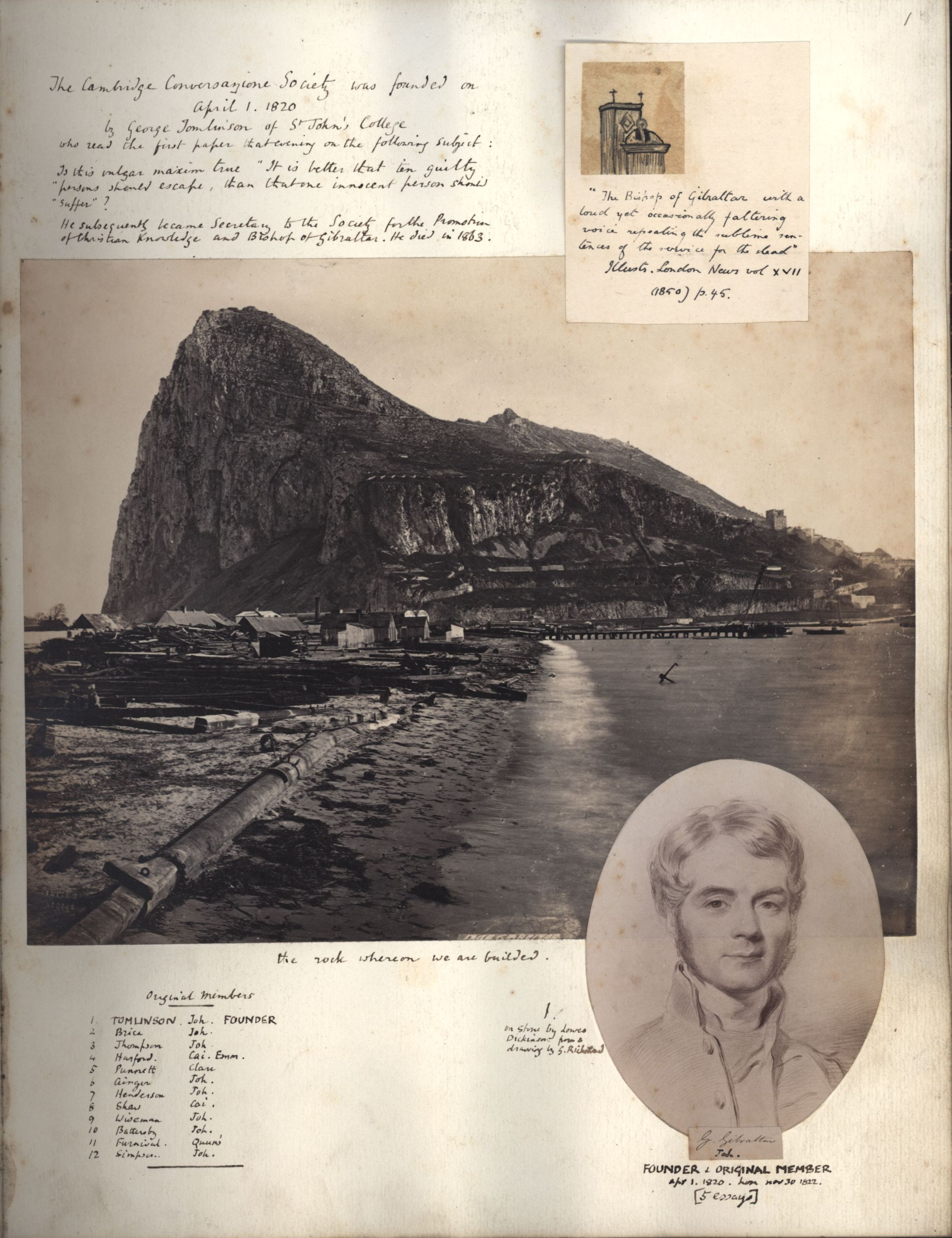 George Thomlinson in the Apostles photo book. [KCAS/39/4/1, p1]