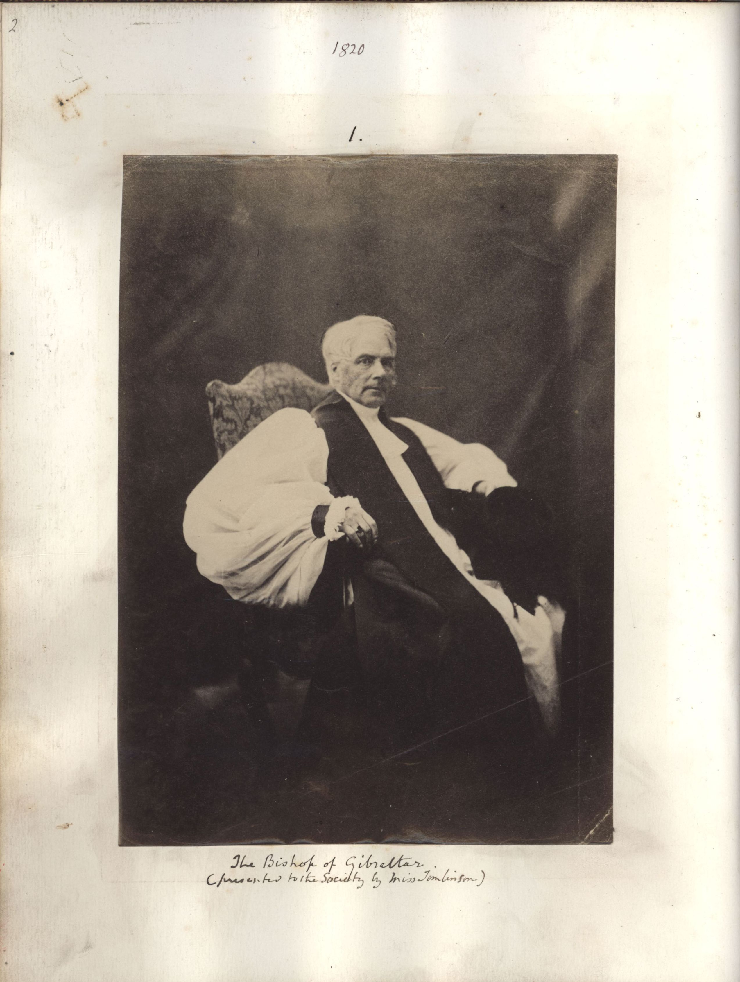George Thomlinson in the Apostles photo book. [KCAS/39/4/1, p2]