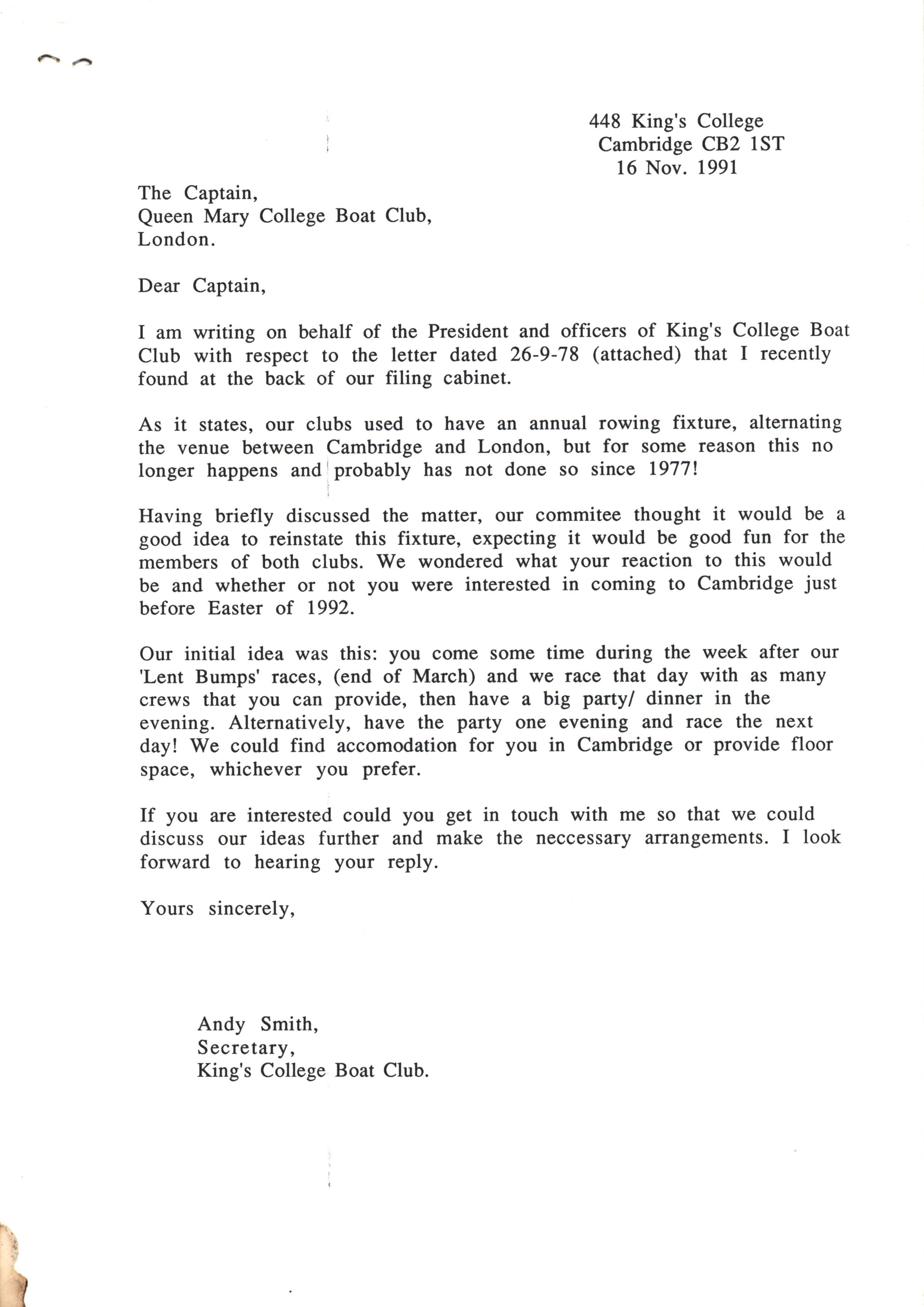 Letter from Andy Smith (then KCBC secretary) to QMUL boat club, 16 November 1991. [KCAS/5/15]