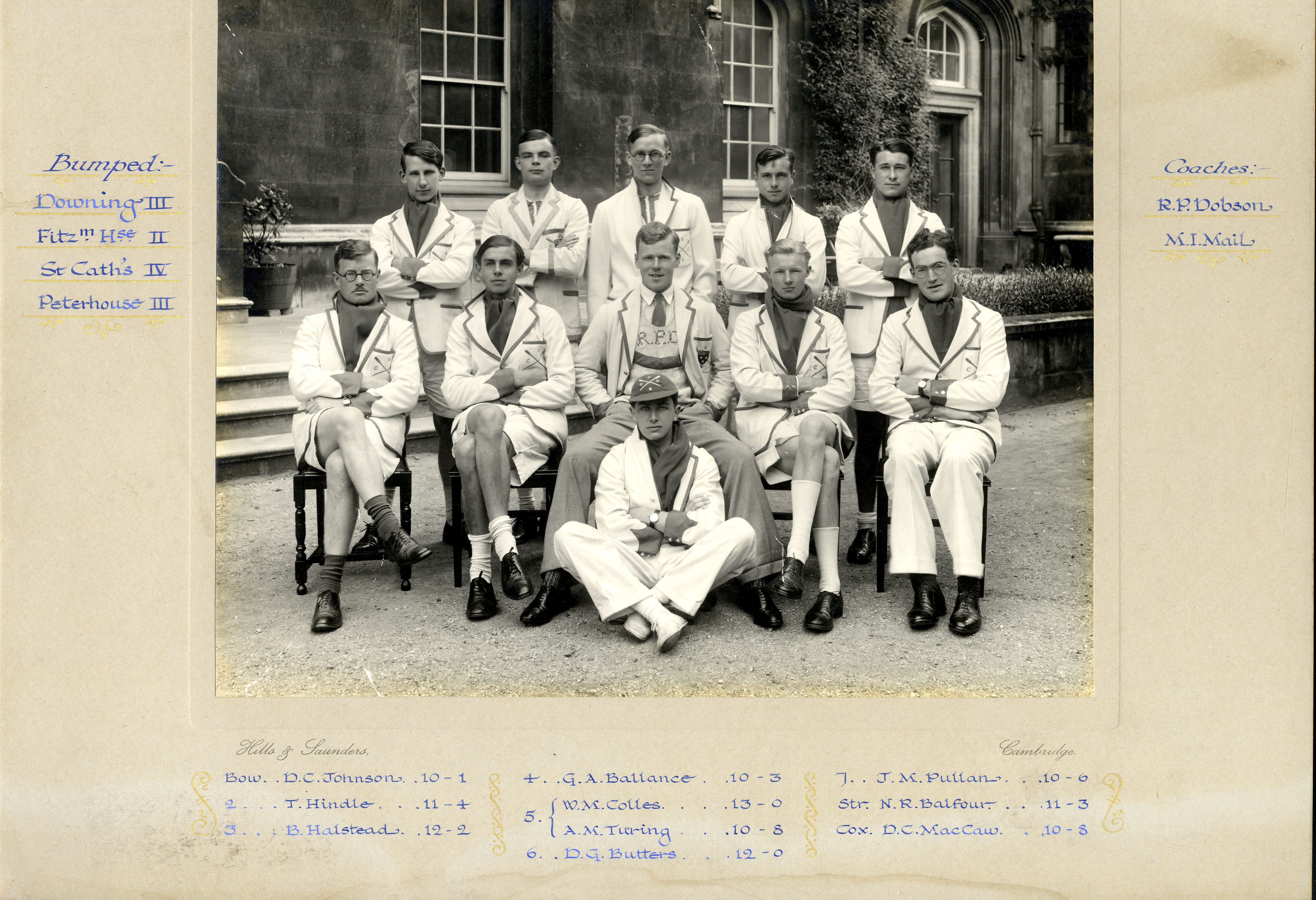 Second Mays boat of 1935. The photograph includes Alan Turing, who is second from the left at the back. [KCAS/5/4/2]