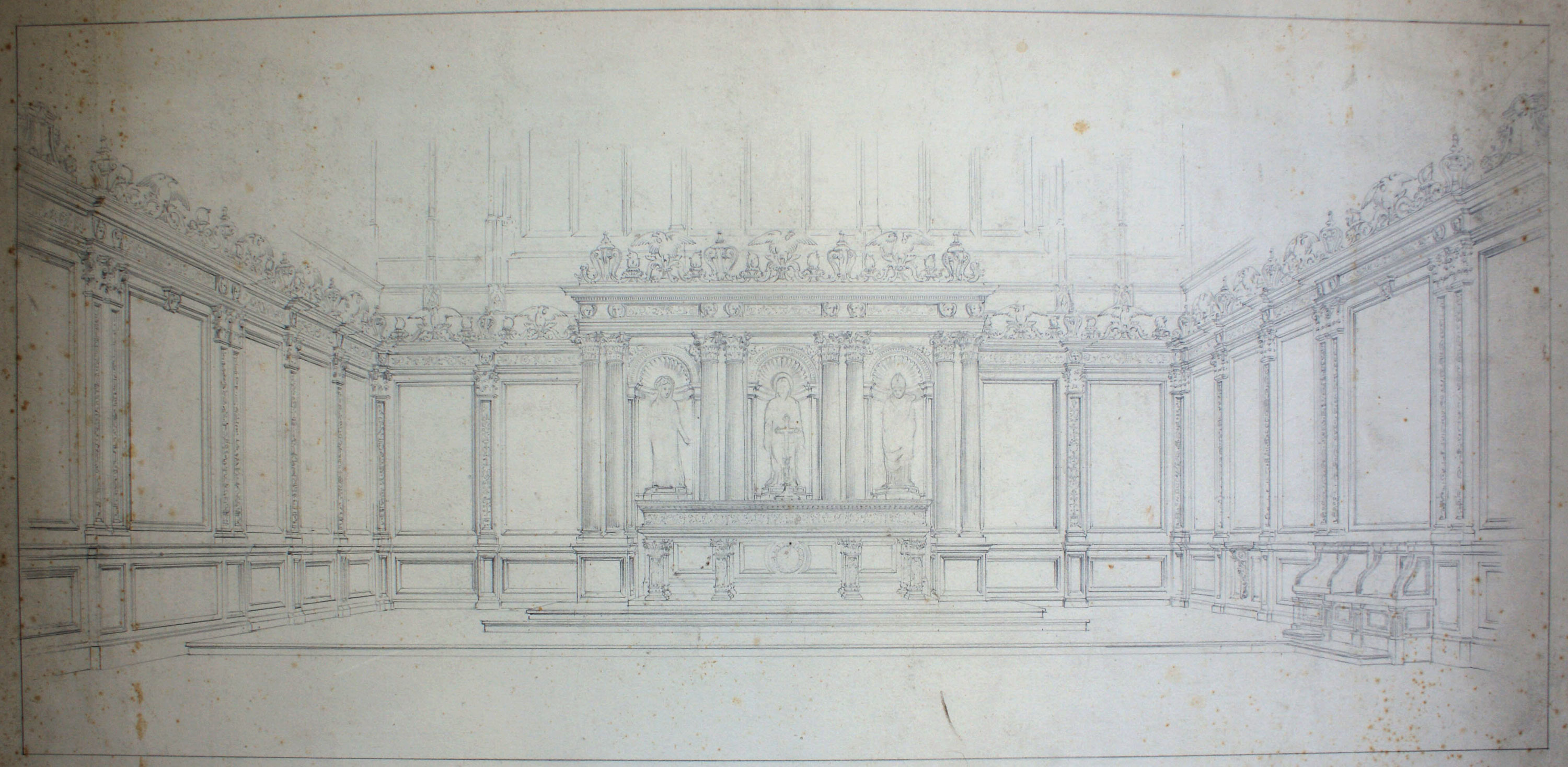 Detmar Blow and Fernand Billerey's suggested reredos, 1905. (KCC/132)