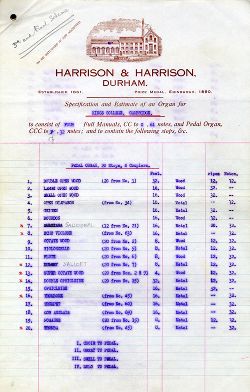 Estimate and specification for proposed tonal schemes of Chapel organ by Harrison and Harrison, Durham, 1932. (KCC/290)