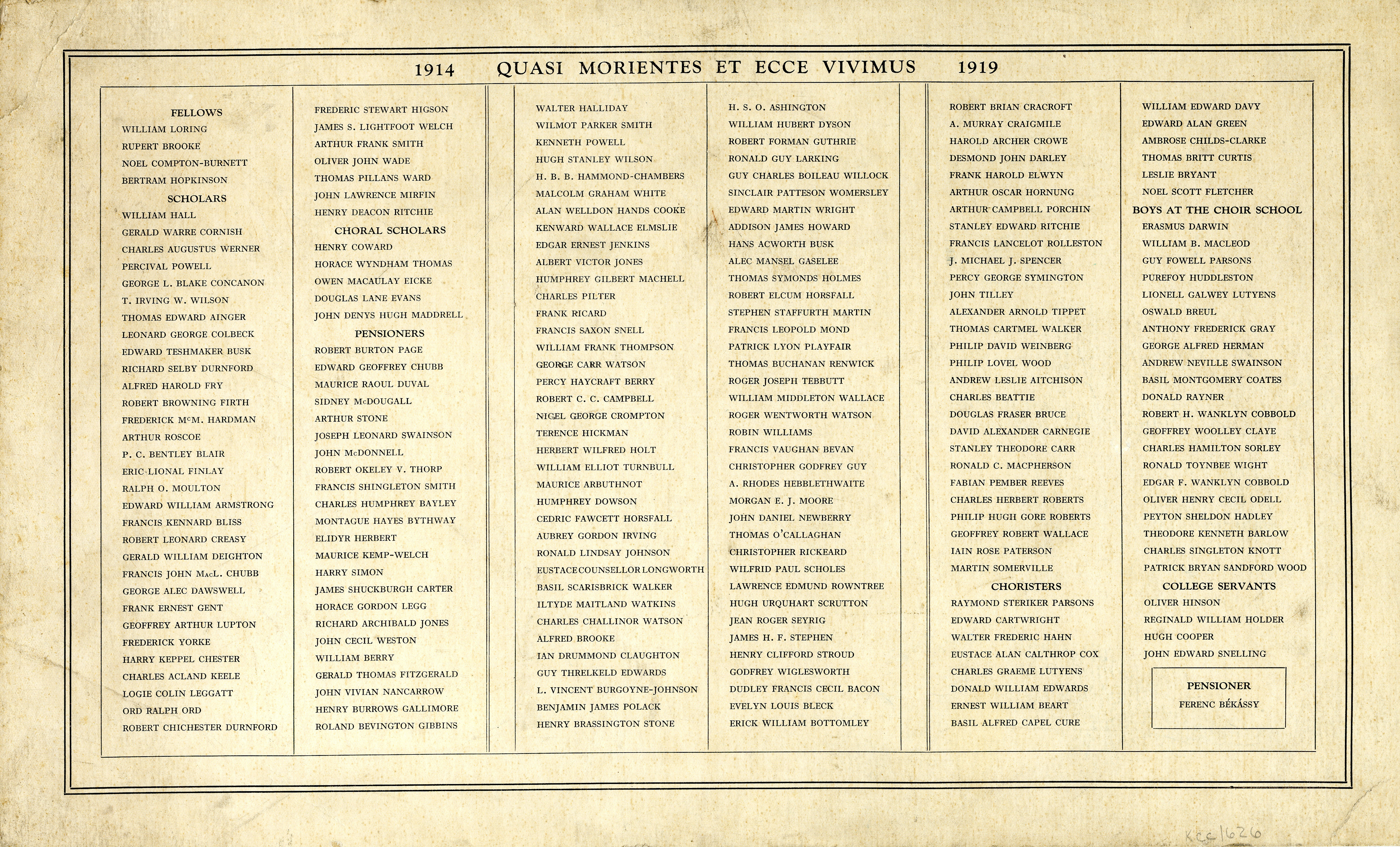 List of names inscribed in the Memorial Chapel (KCC/626)