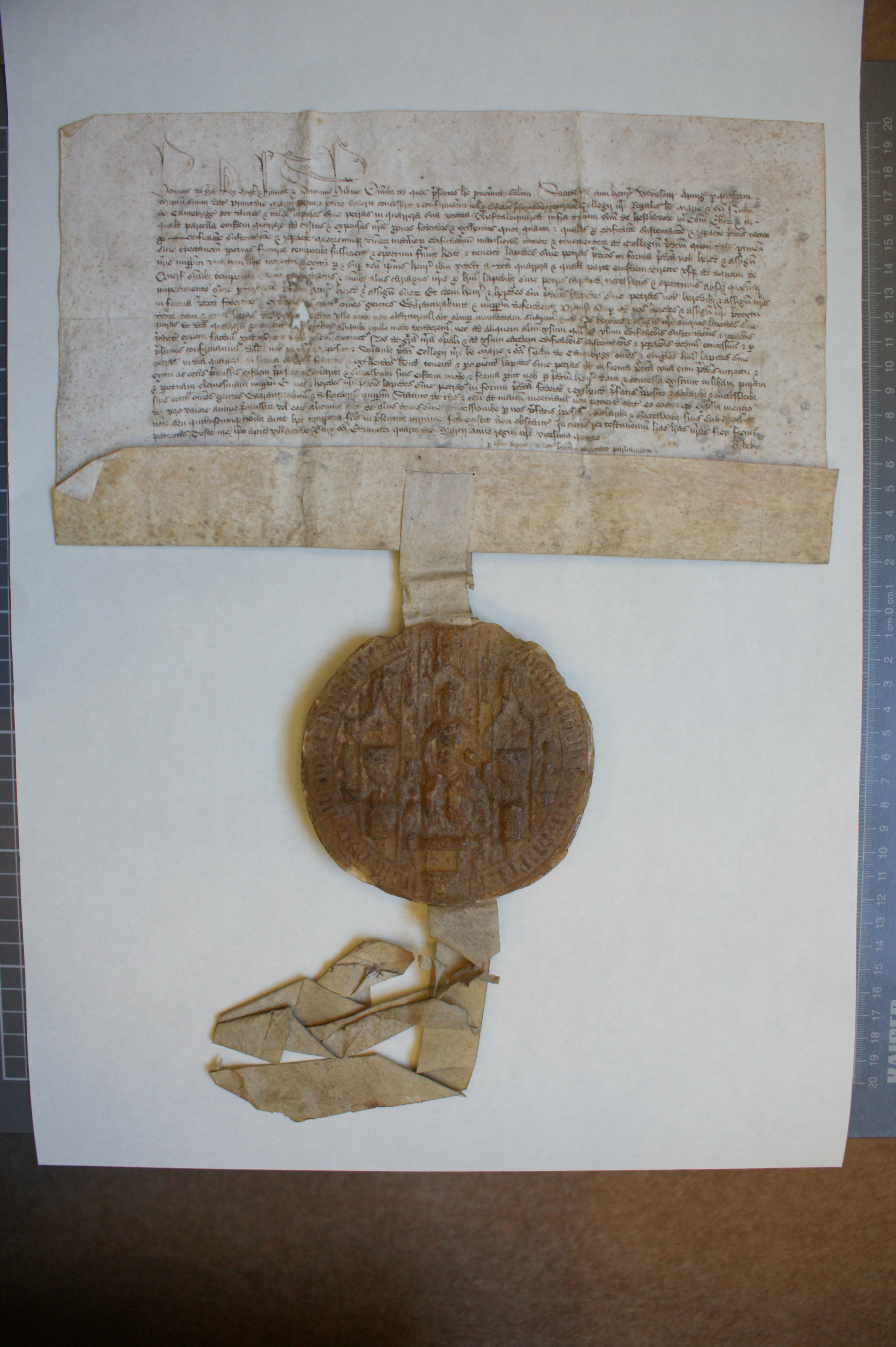 Royal letters patent granting 'Thesdale' quarry at Haslewood, Yorkshire, with right of carriage to river Wharf, granted to Henry VI by Henry Vavasour, for building at King's, 4 March 1447. [KCD/4]