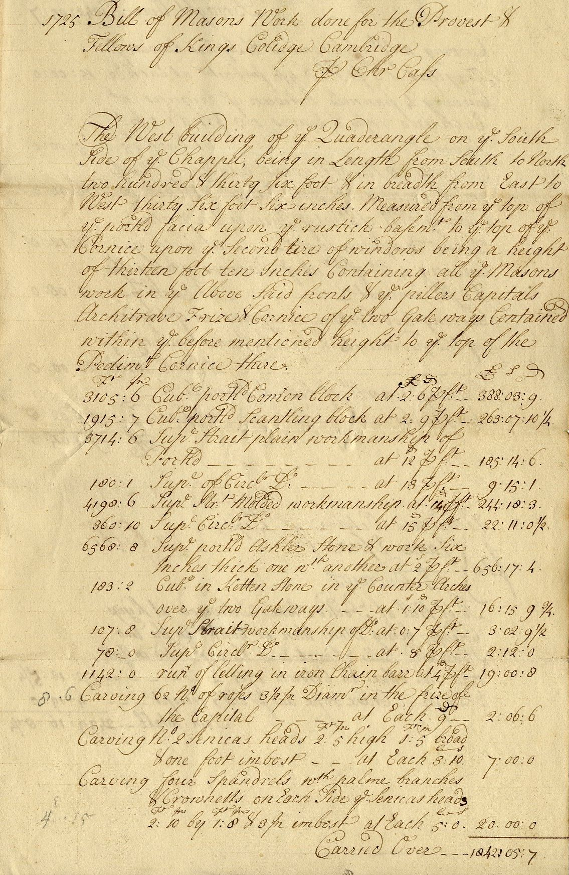 Part of a mason's bill for the Gibbs building, 1725. [KCD/115]