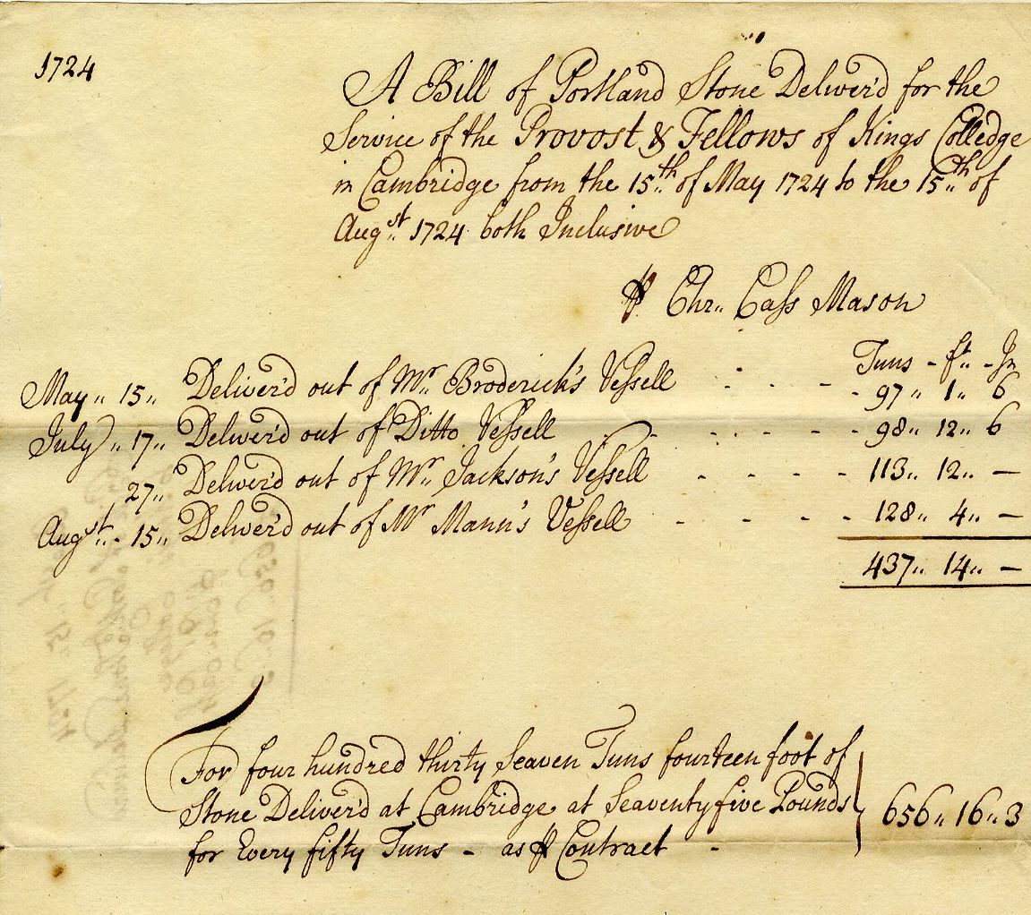 Bill for the delivery of Portland Stone, 15 May 1724. [KCD/115]