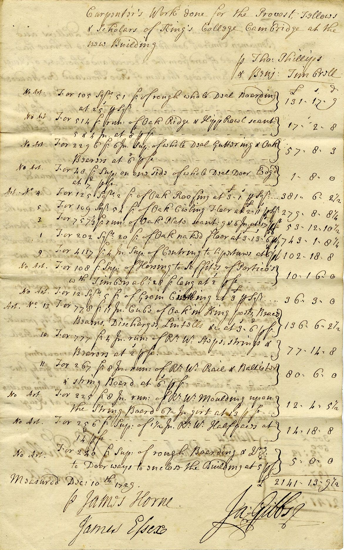 Account of carpenters' work on the Gibbs building, signed by James Gibbs, measured 10 December 1729. [KCD/115]