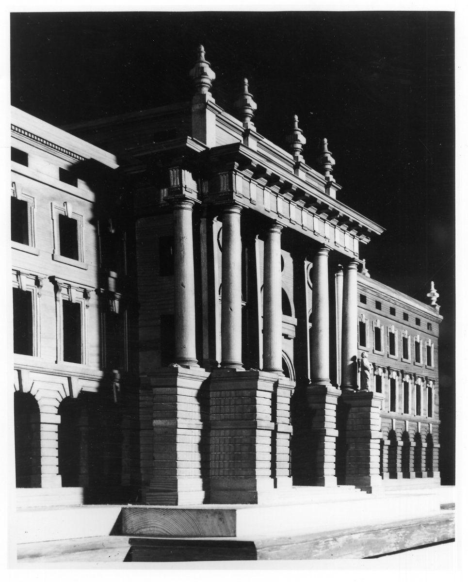 Portico of Hawksmoor's first model, taken by Edward Leigh. [KCD/124]