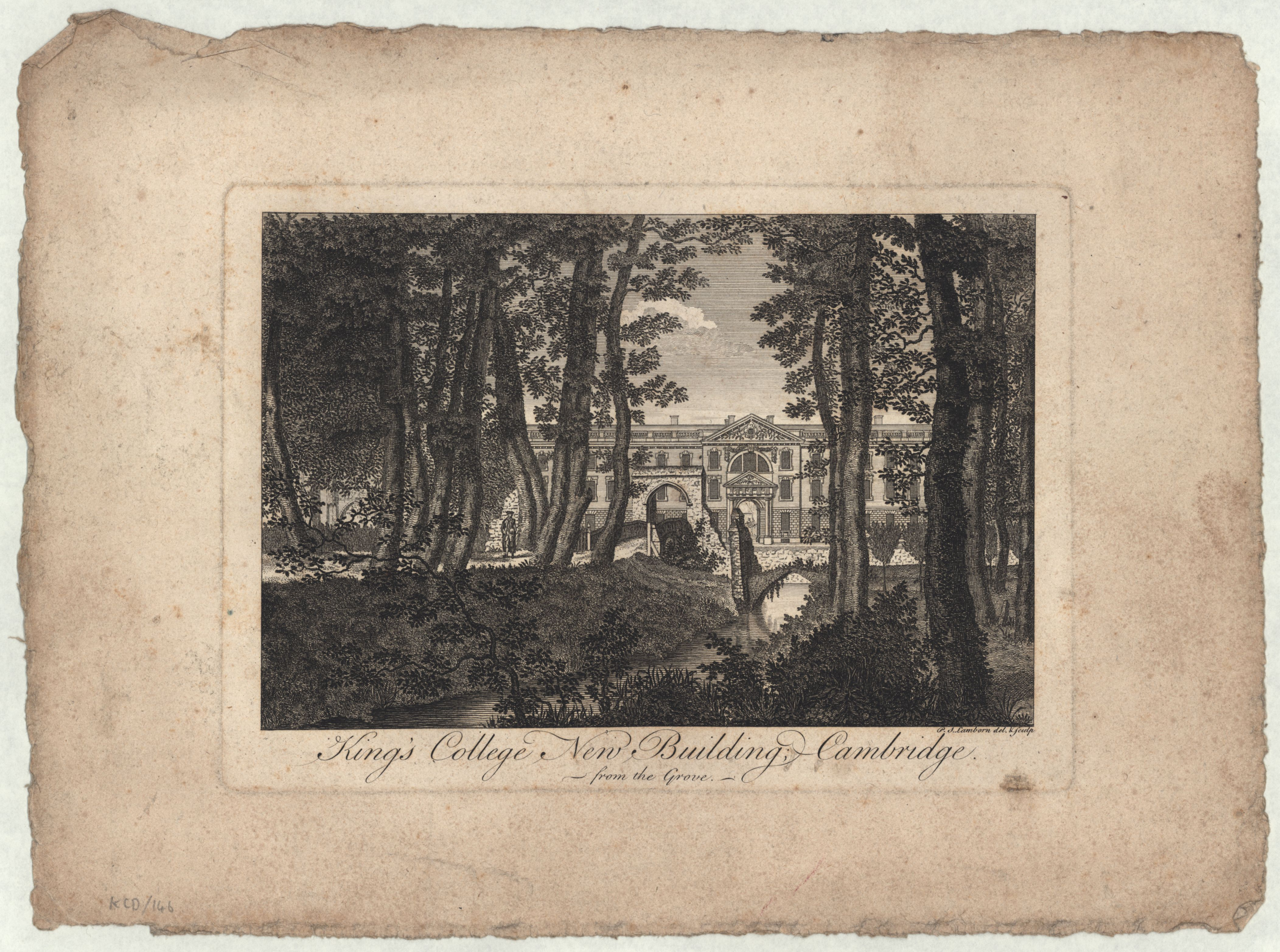 'King's College New Building Cambridge, from the Grove', engraving by P.S. Lamborn, c.1790, showing the old bridge over the Cam. [KCD/146]