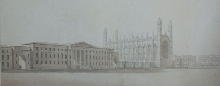 Perspective looking northwest on King's Parade. Vulliamy, 1822-3 (KCD/156)