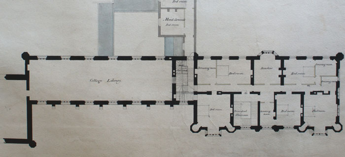 Wilkins' plan for the first floor of the library, 1823. (KCD/453)