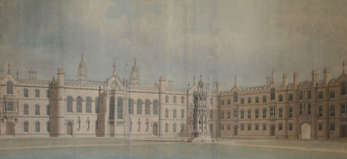 Perspective of the front court towards the southwest. William Wilkins, 1823 (KCD/508)