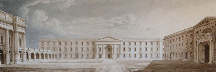 Perspective of the front court towards the south. Anonymous, 1823. (KCD/654)