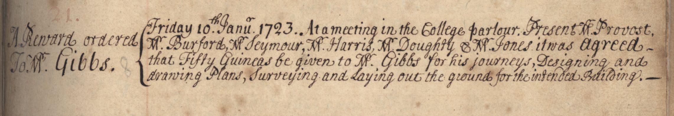 Record of the agreement to pay James Gibbs fifty guineas, 10 January 1723. [KCGB/4/1/1/1]