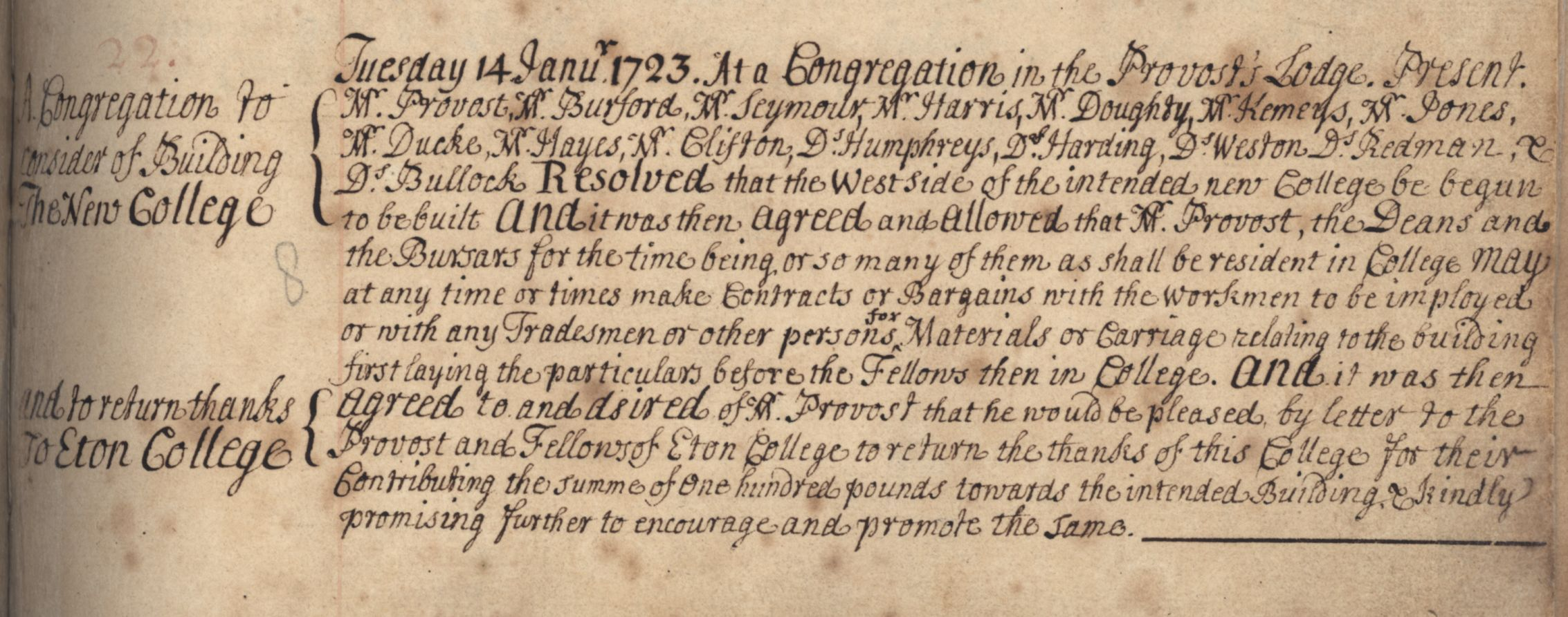 Minute of the Congregation's decision to allow building works to commence, 14 January 1723. [KCGB/4/1/1/1]