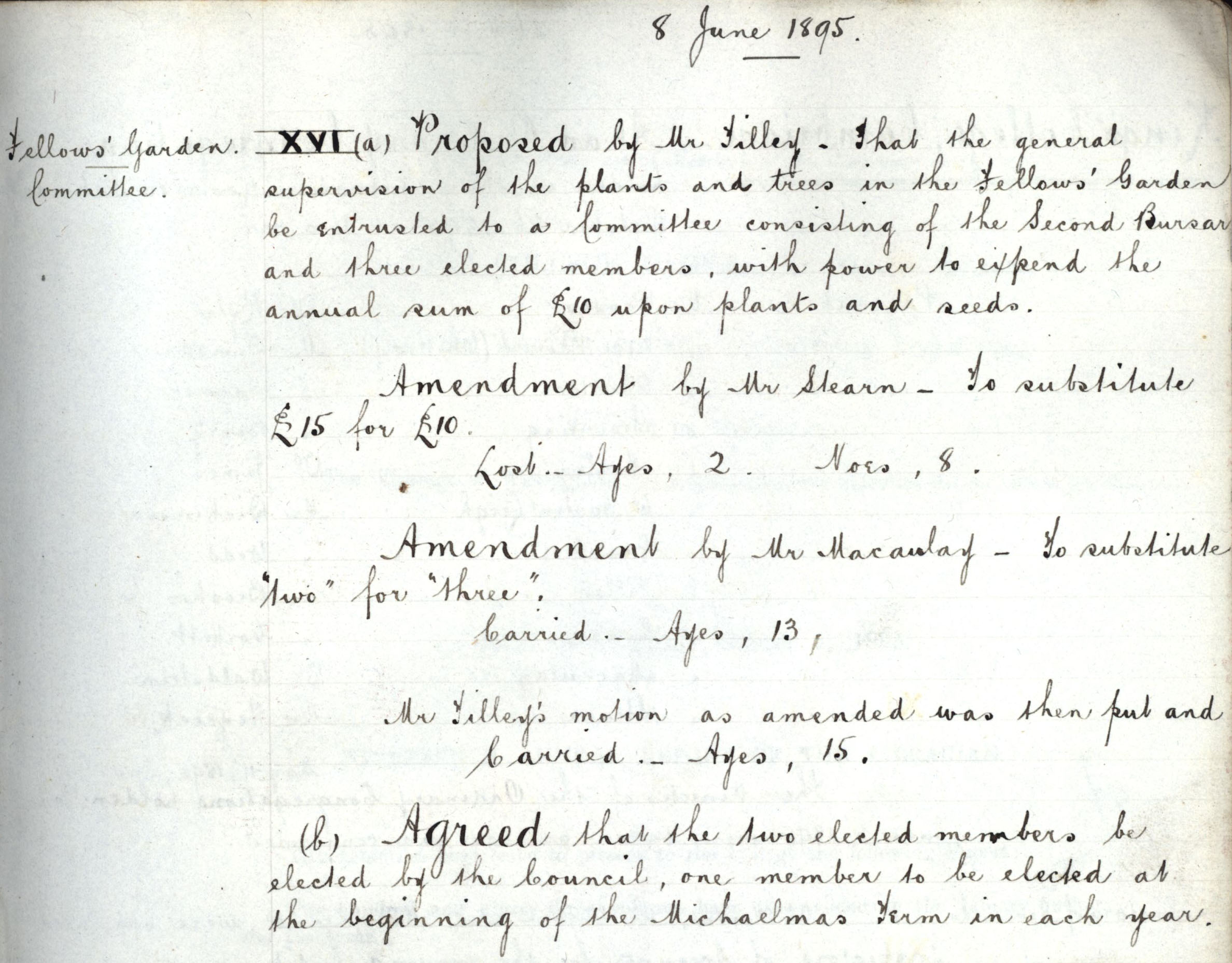 Congregation minutes, 8 June 1895