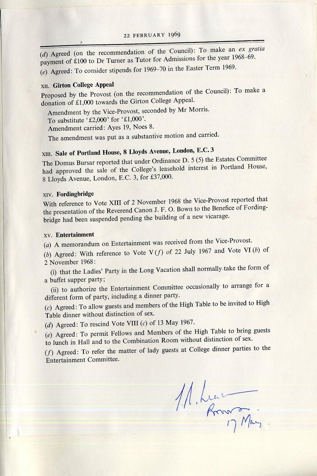 Governing Body minutes, 22 February 1969. [KCGB/4/1/1/22]